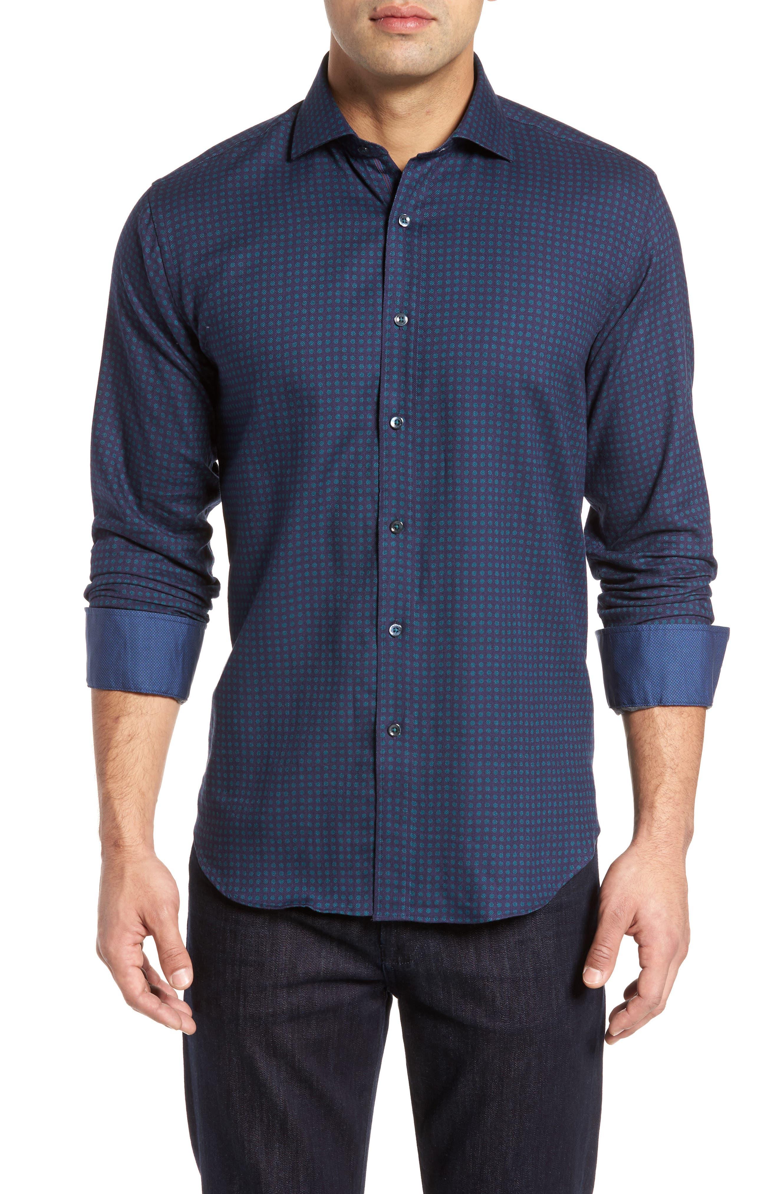 Shaped Fit Print Sport Shirt,                         Main,                         color, 503