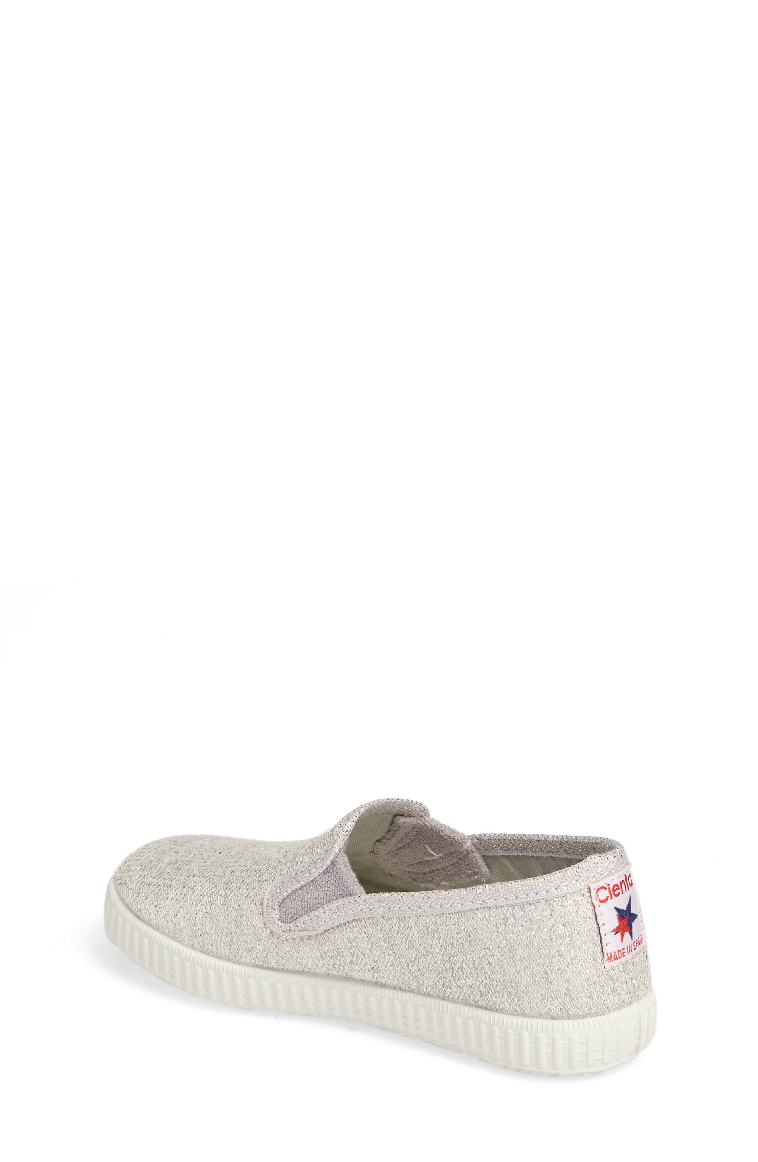 Glitter Slip-On Sneaker,                             Alternate thumbnail 2, color,                             SILVER