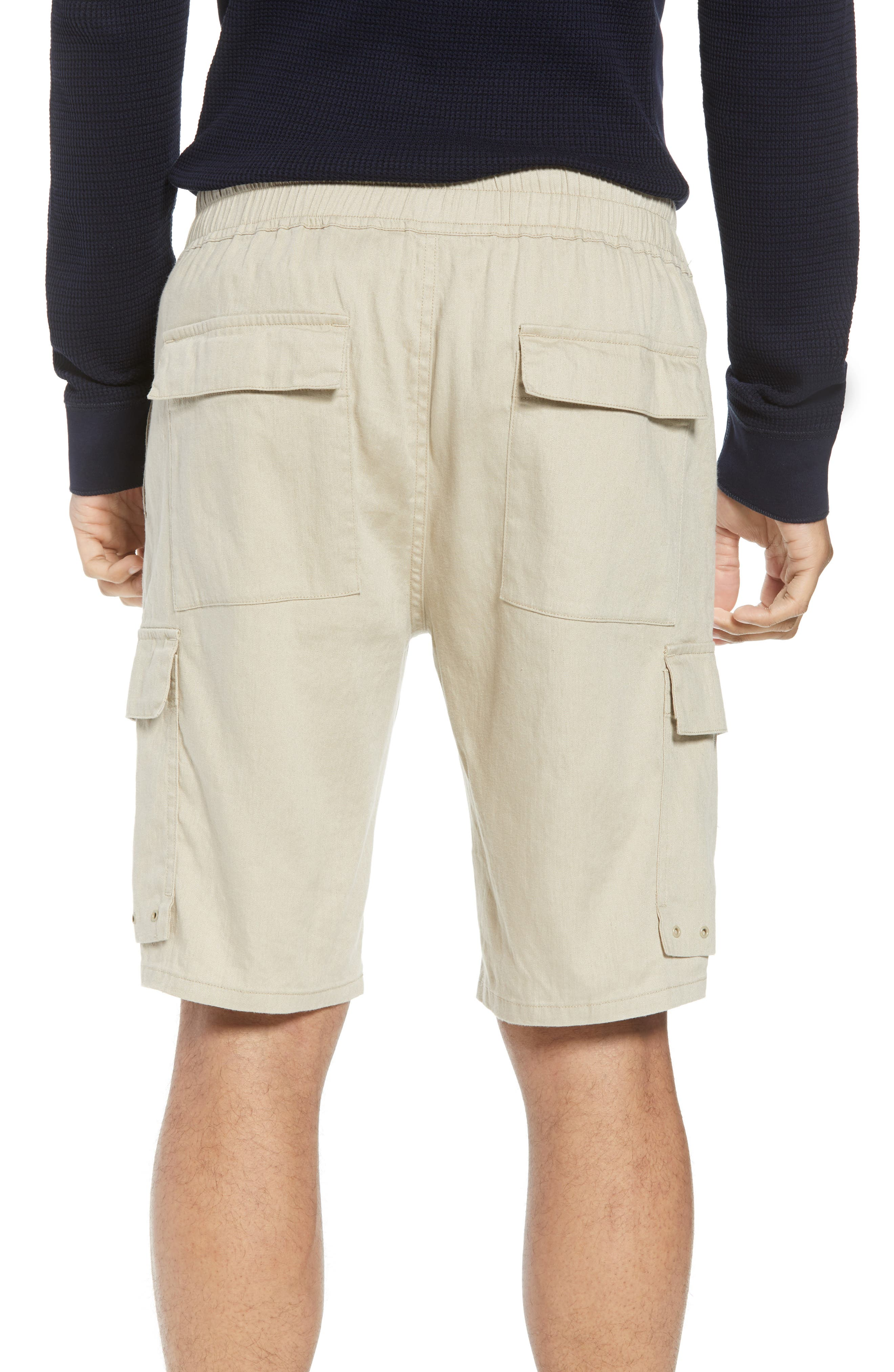 Stretch Linen & Cotton Cargo Shorts,                             Alternate thumbnail 2, color,                             FLAX