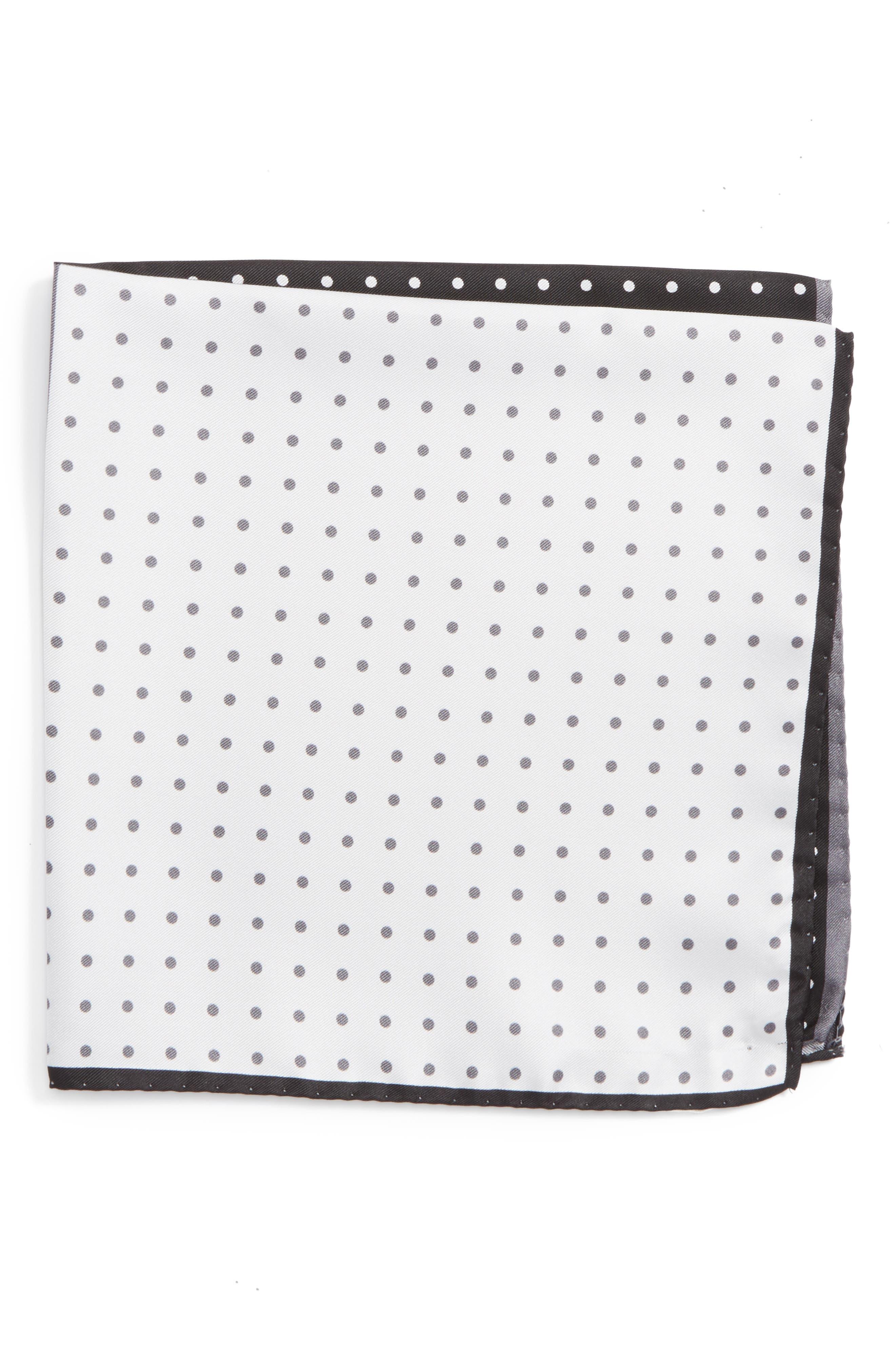 Four Panel Dot Silk Pocket Square,                             Main thumbnail 1, color,                             BLACK