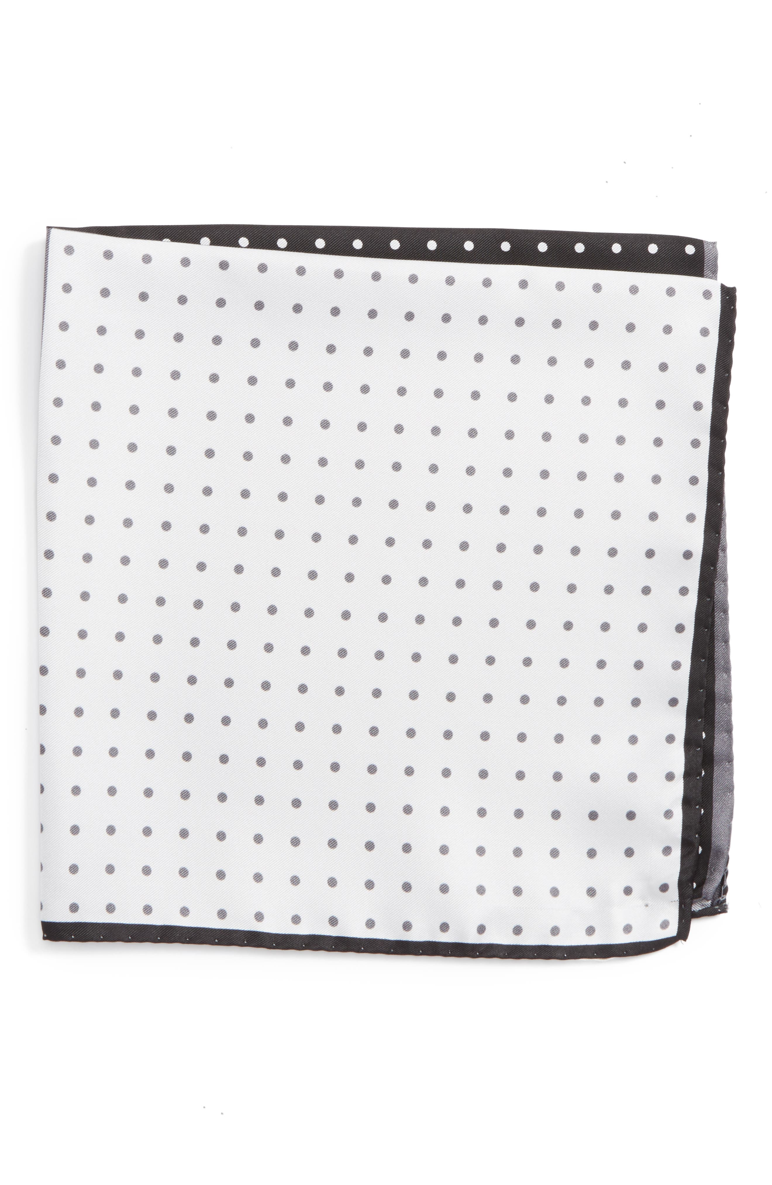 Four Panel Dot Silk Pocket Square,                         Main,                         color, BLACK