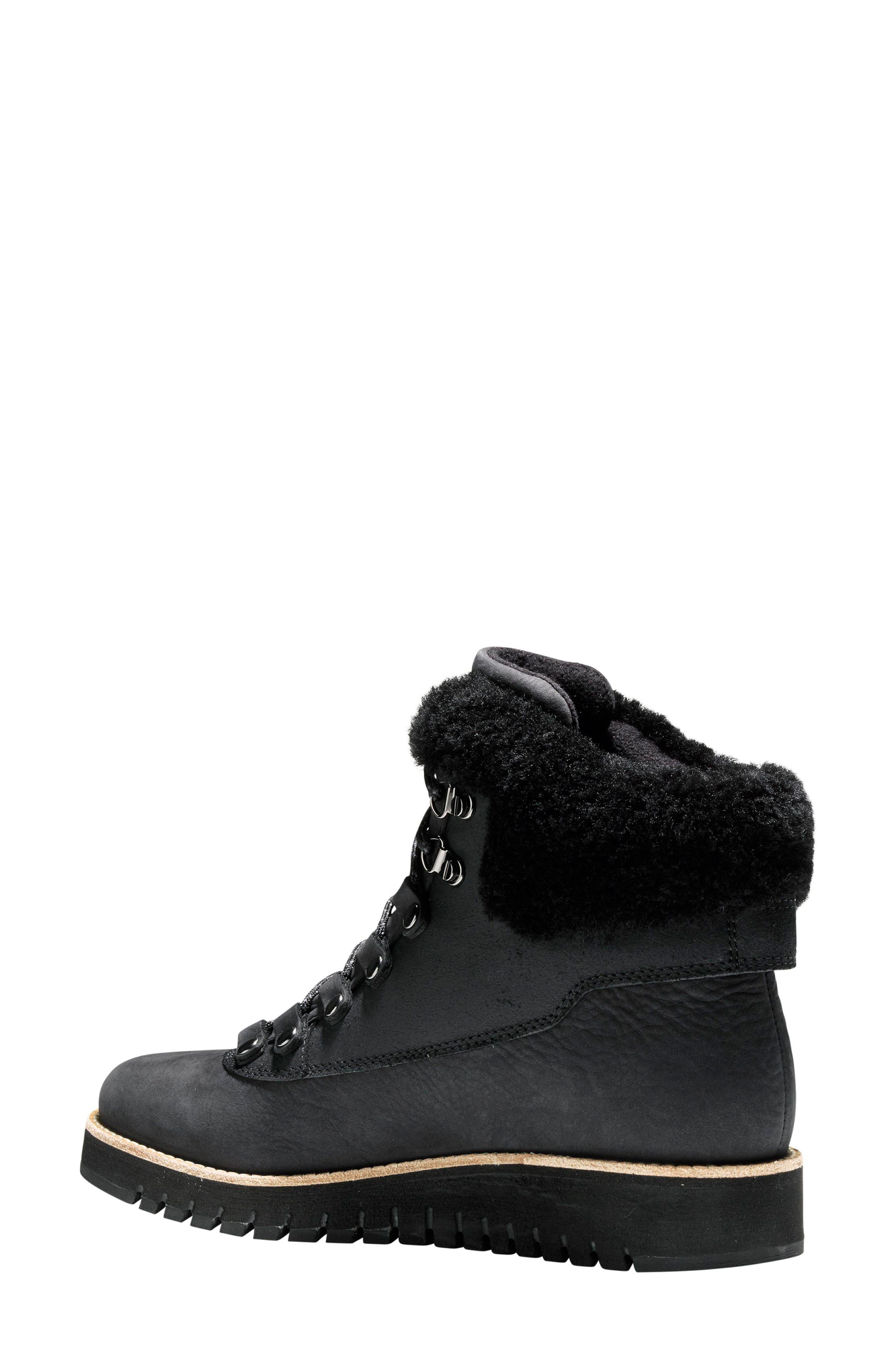 GrandExpløre Genuine Shearling Trim Waterproof Hiker Boot,                             Alternate thumbnail 2, color,                             BLACK LEATHER