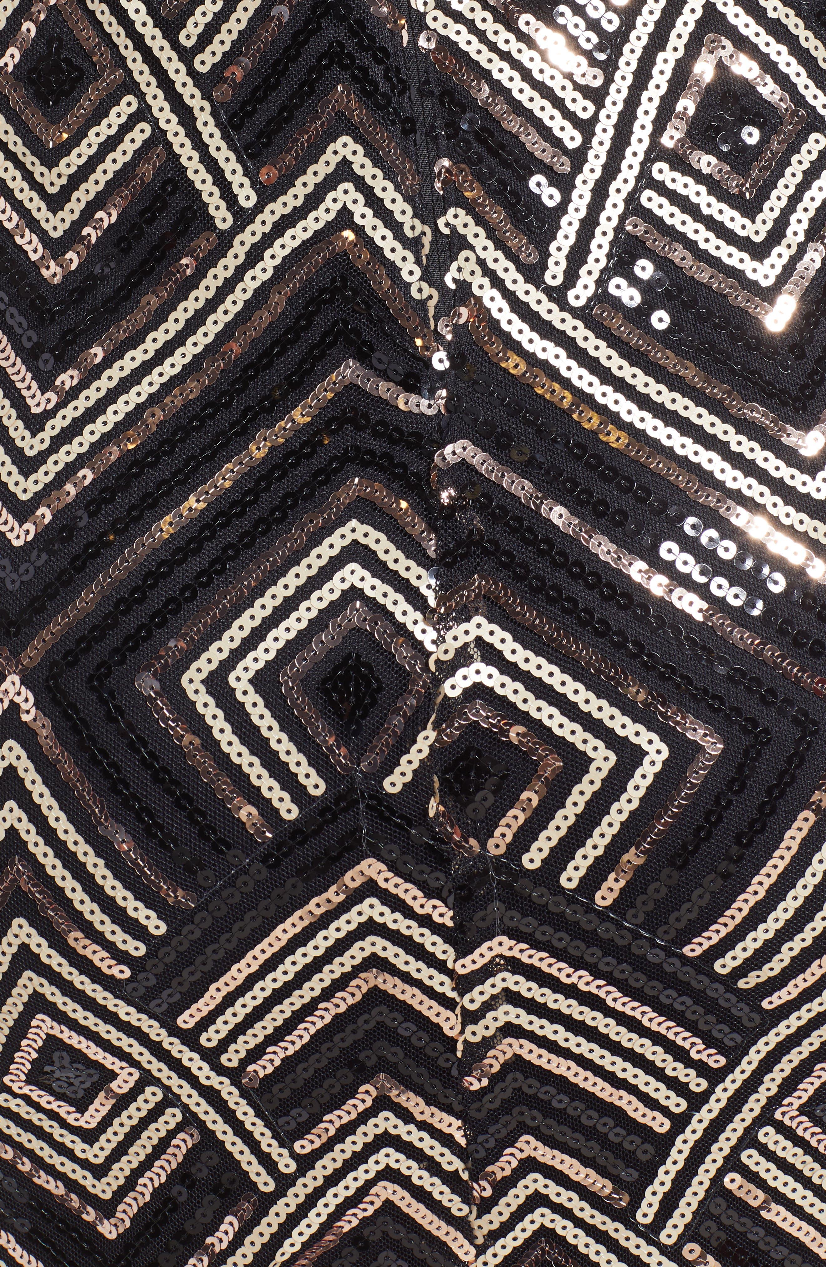 Sequin Cutout Minidress,                             Alternate thumbnail 6, color,                             BLACK SEQUINS
