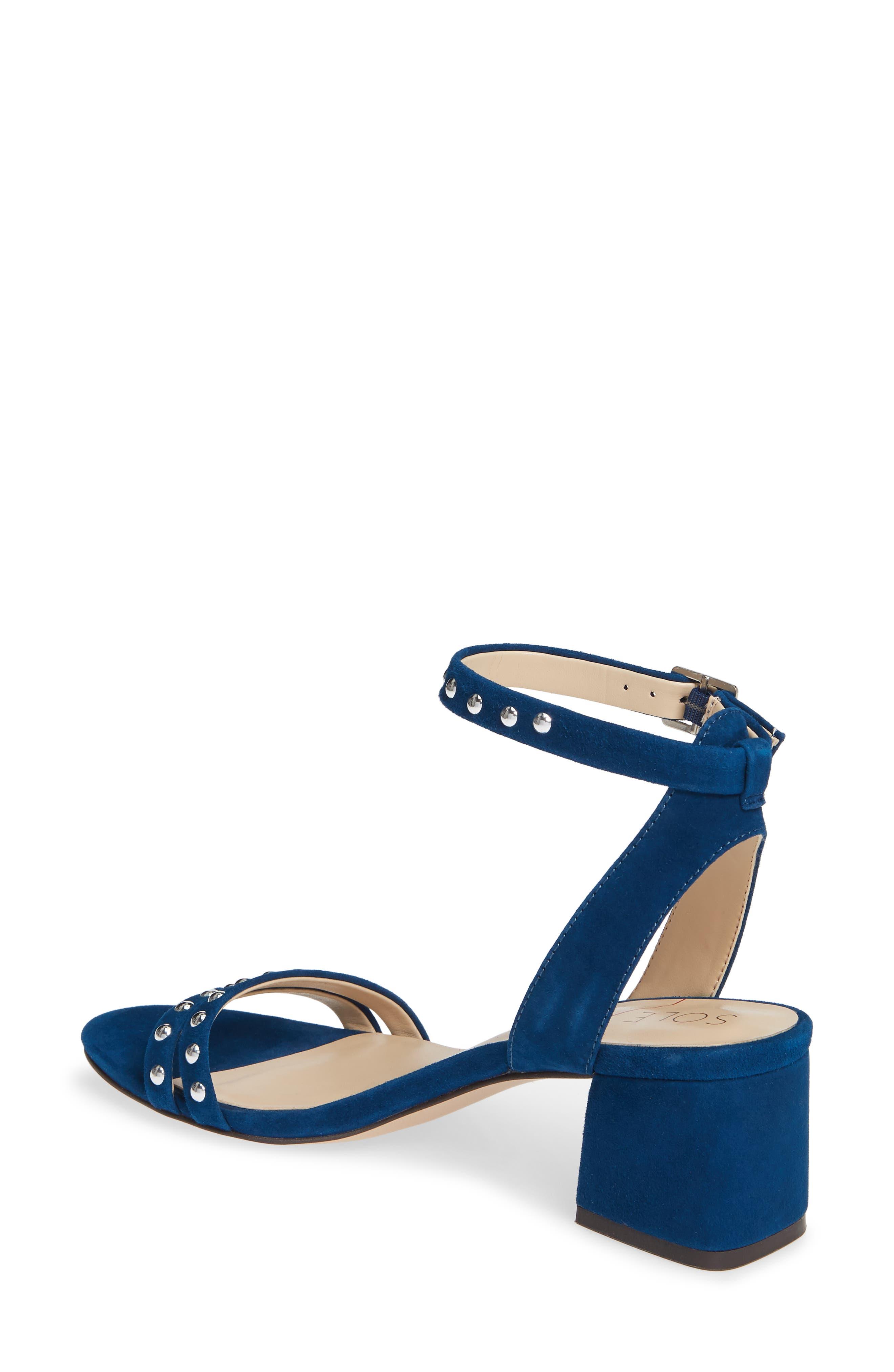Hezzter Studded Sandal,                             Alternate thumbnail 2, color,                             CERULEAN BLUE SUEDE