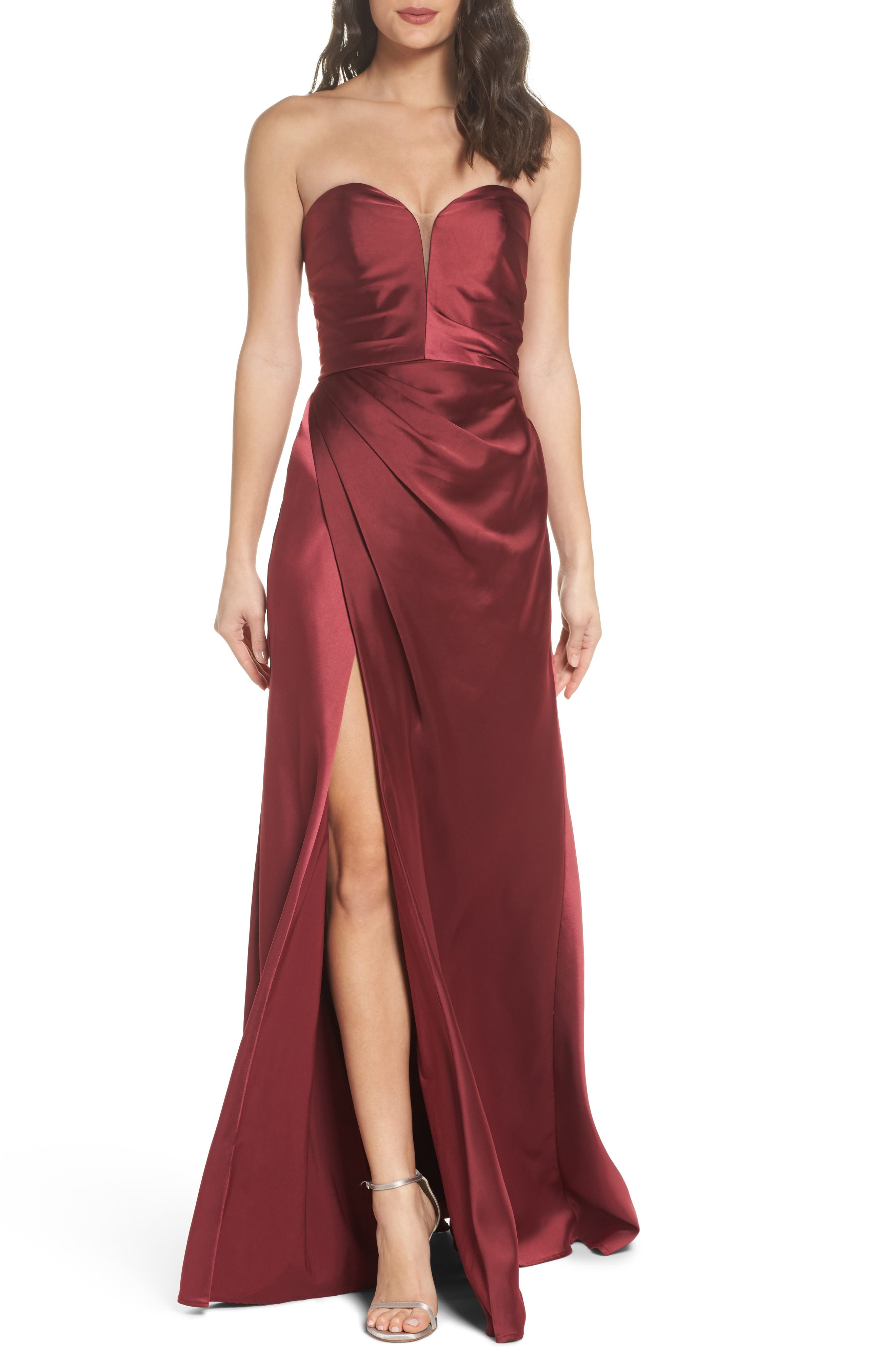 Gathered Strapless Satin Gown,                             Main thumbnail 1, color,                             602