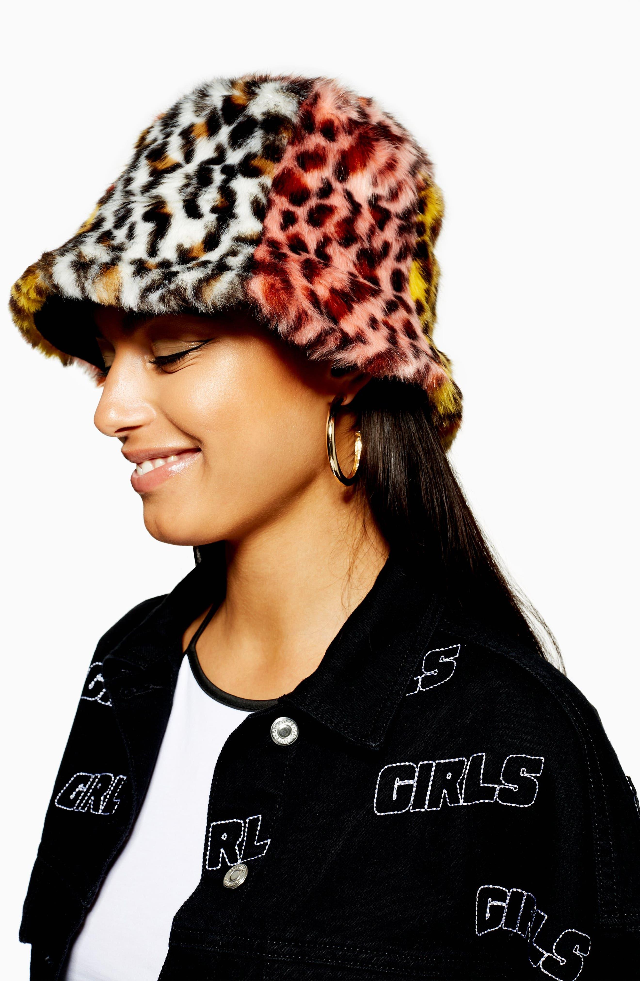 Mixed Animal Print Faux Fur Bucket Hat,                             Alternate thumbnail 2, color,                             BLACK MULTI