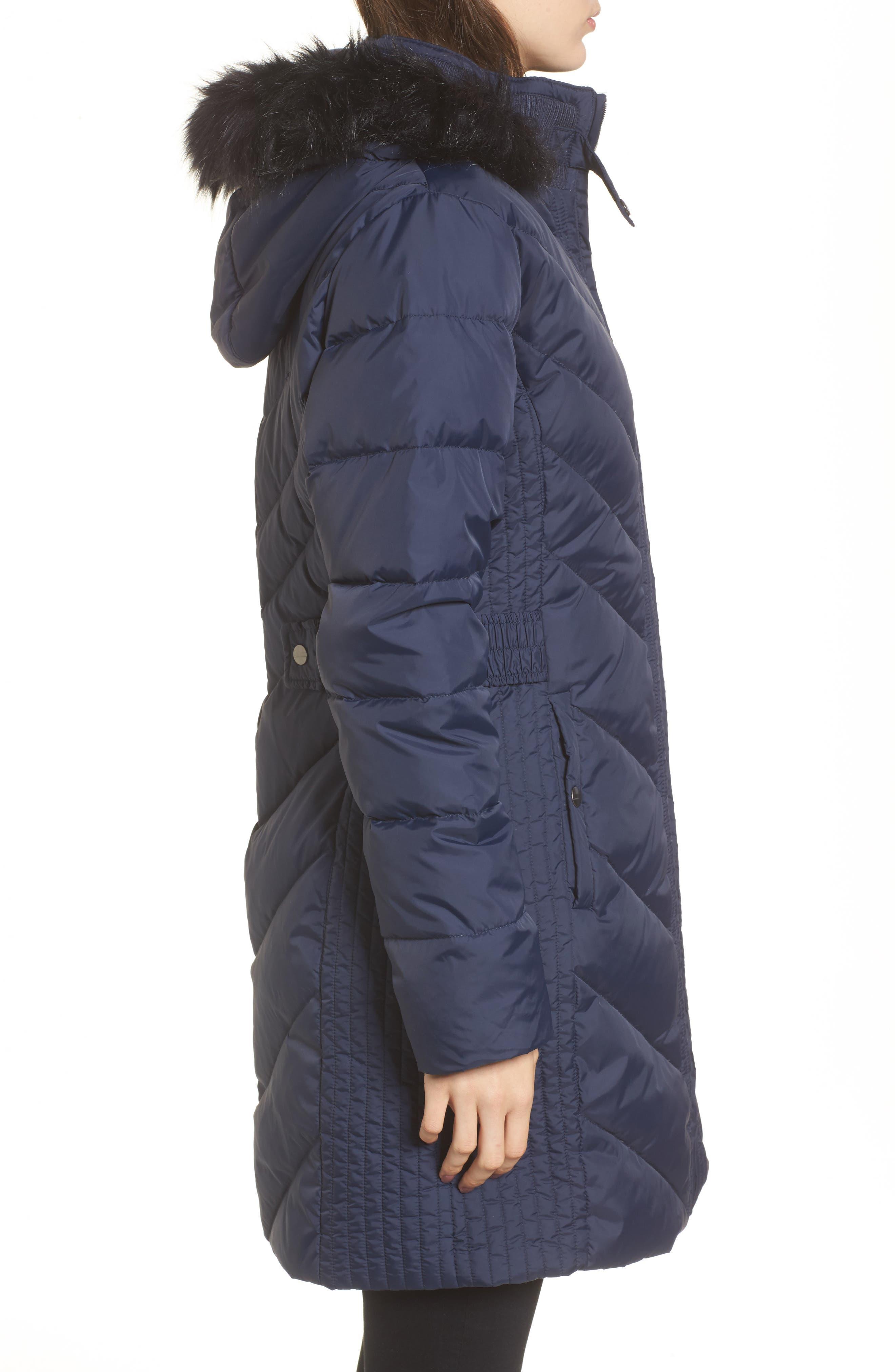 Faux Fur Trim Hooded Jacket,                             Alternate thumbnail 3, color,                             004