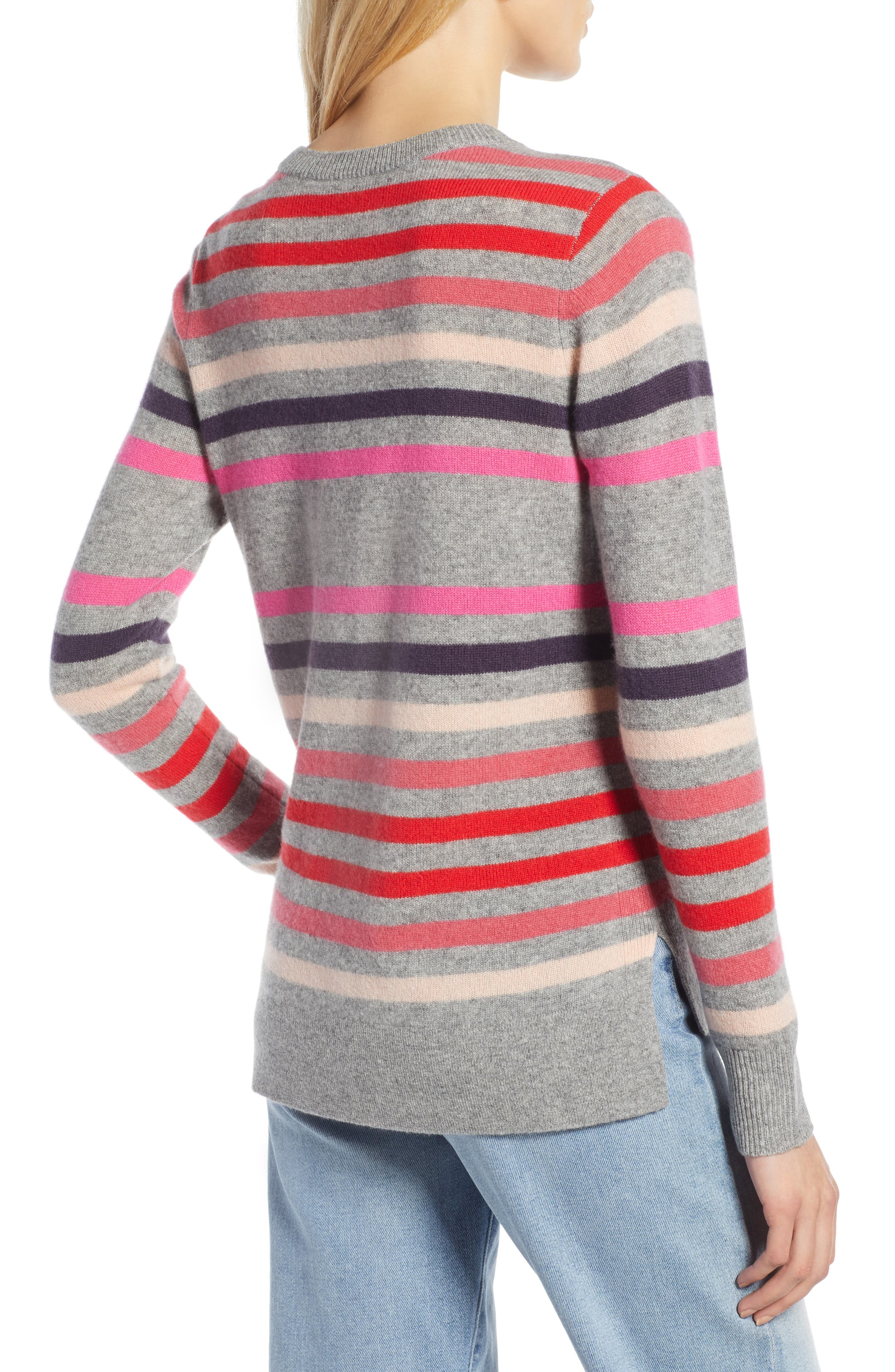 Crewneck Cashmere Sweater,                             Alternate thumbnail 2, color,                             GREY- PINK STRIPE