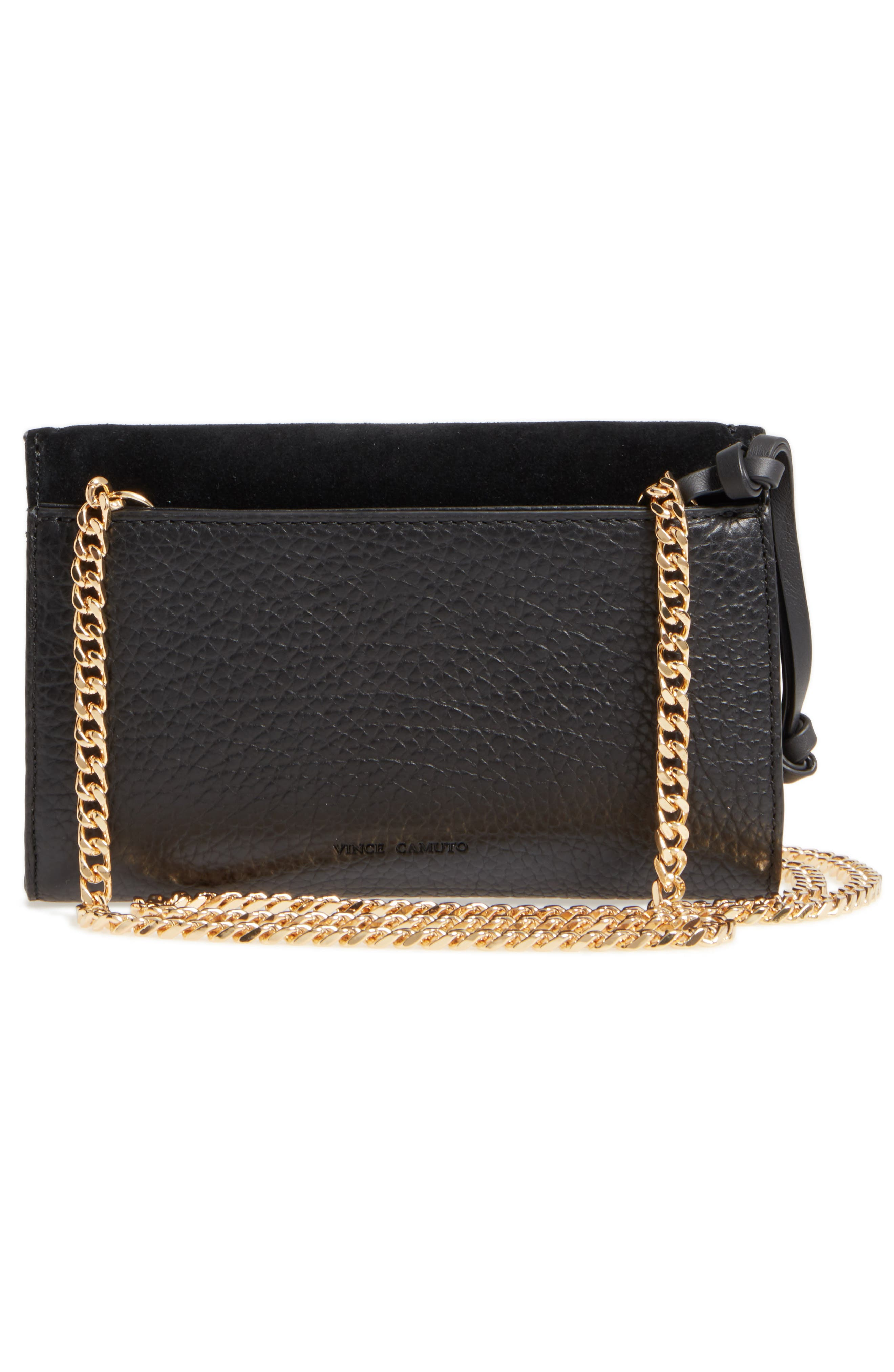 Blena Leather & Suede Clutch,                             Alternate thumbnail 3, color,                             001