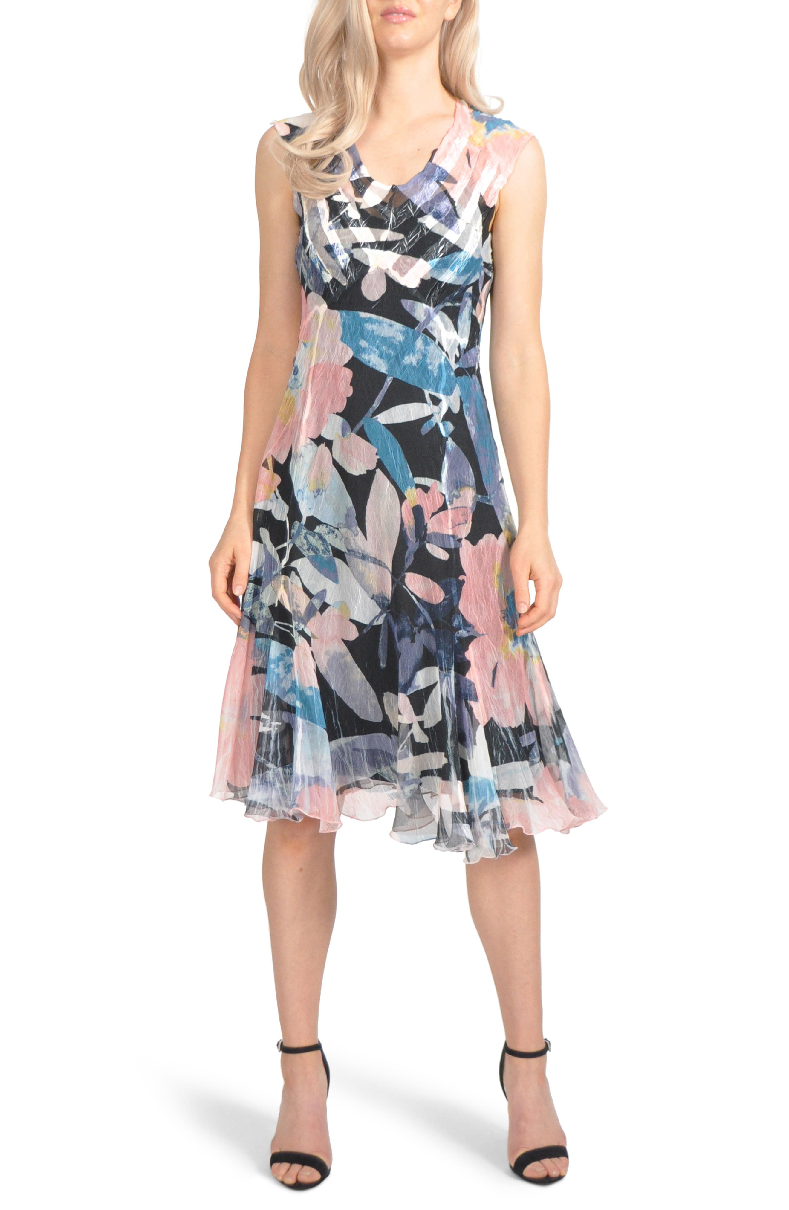 Komarov Chiffon A-Line Dress, Black