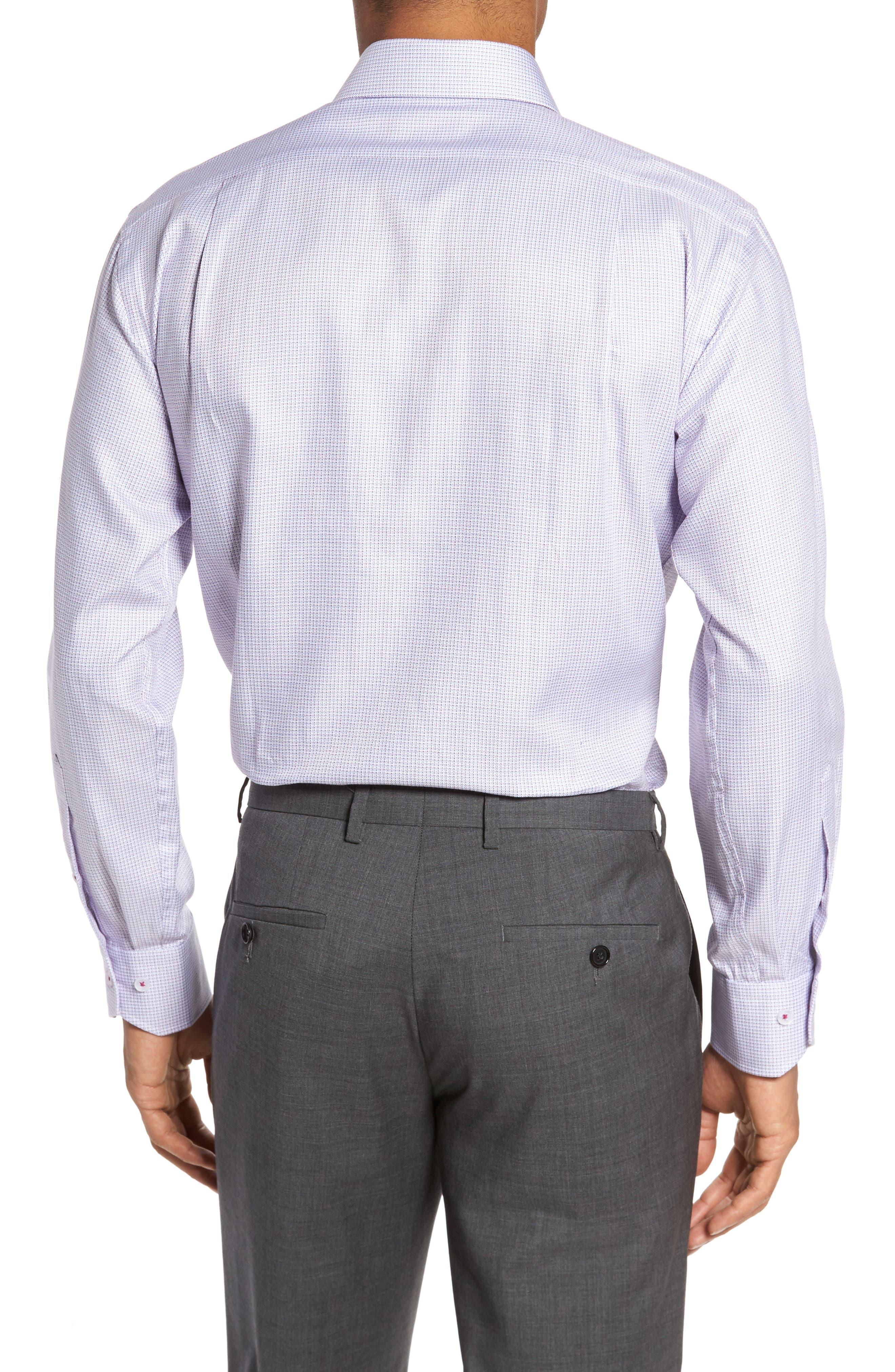 Trim Fit Textured Check Dress Shirt,                             Alternate thumbnail 2, color,                             450