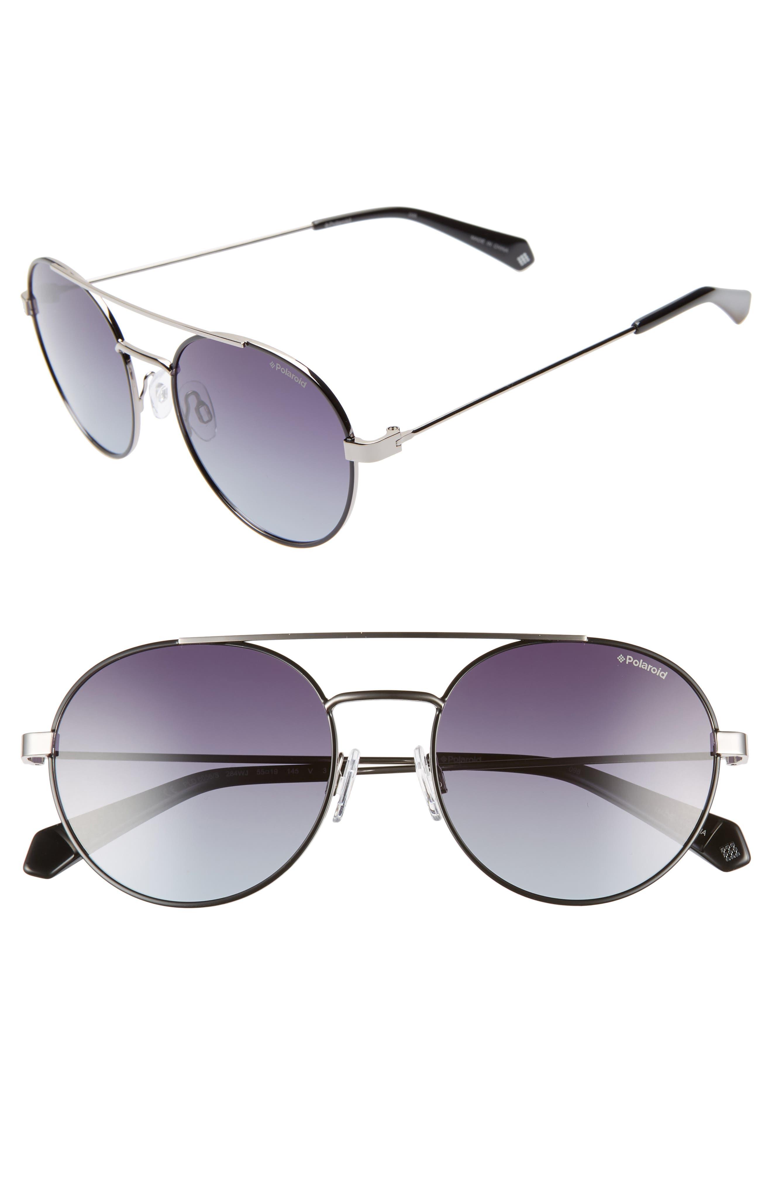 Round 55mm Polarized Sunglasses,                             Main thumbnail 1, color,                             BLACK