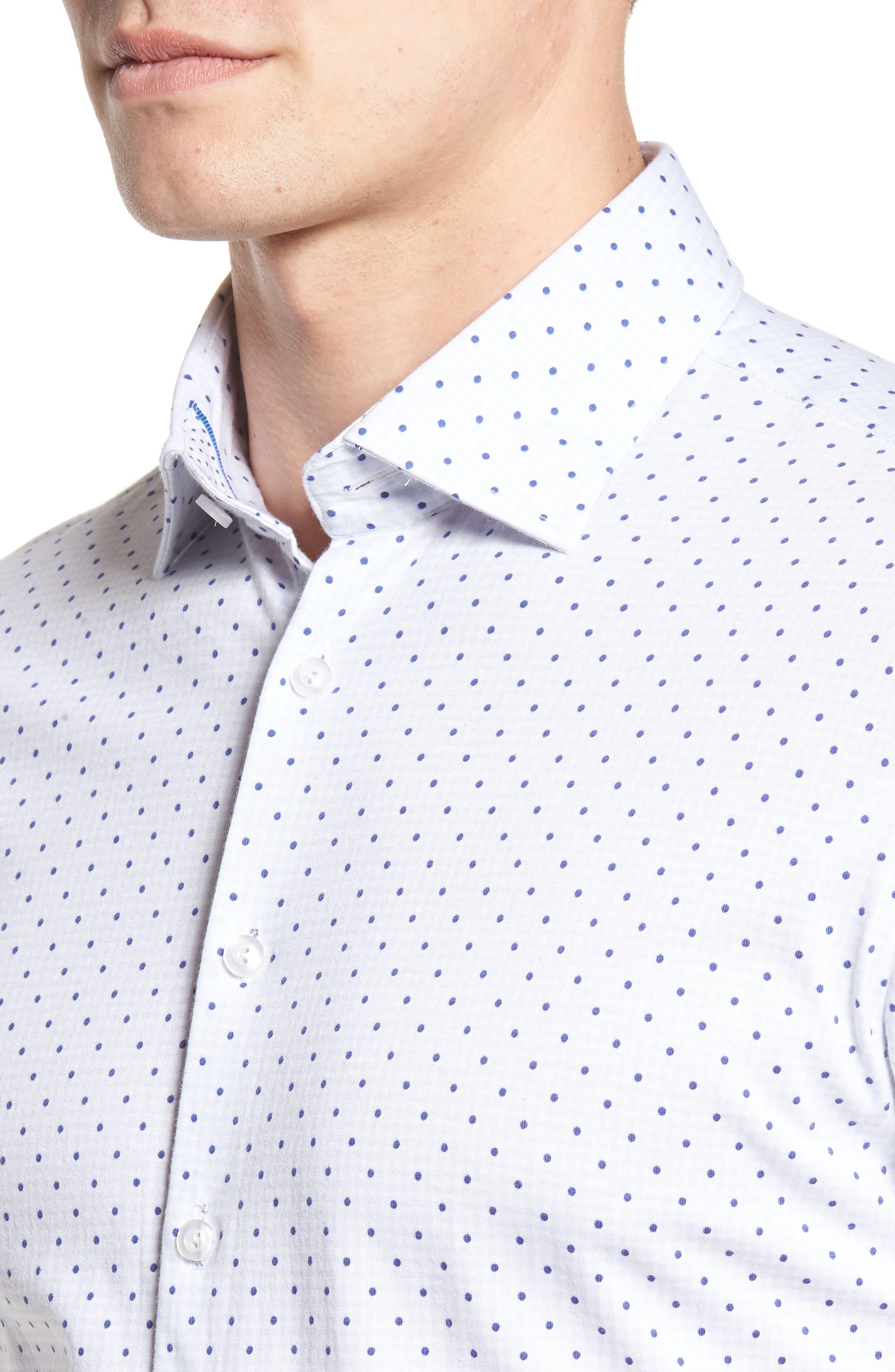 Trim Fit Polka Dot Check Sport Shirt,                             Alternate thumbnail 4, color,                             020