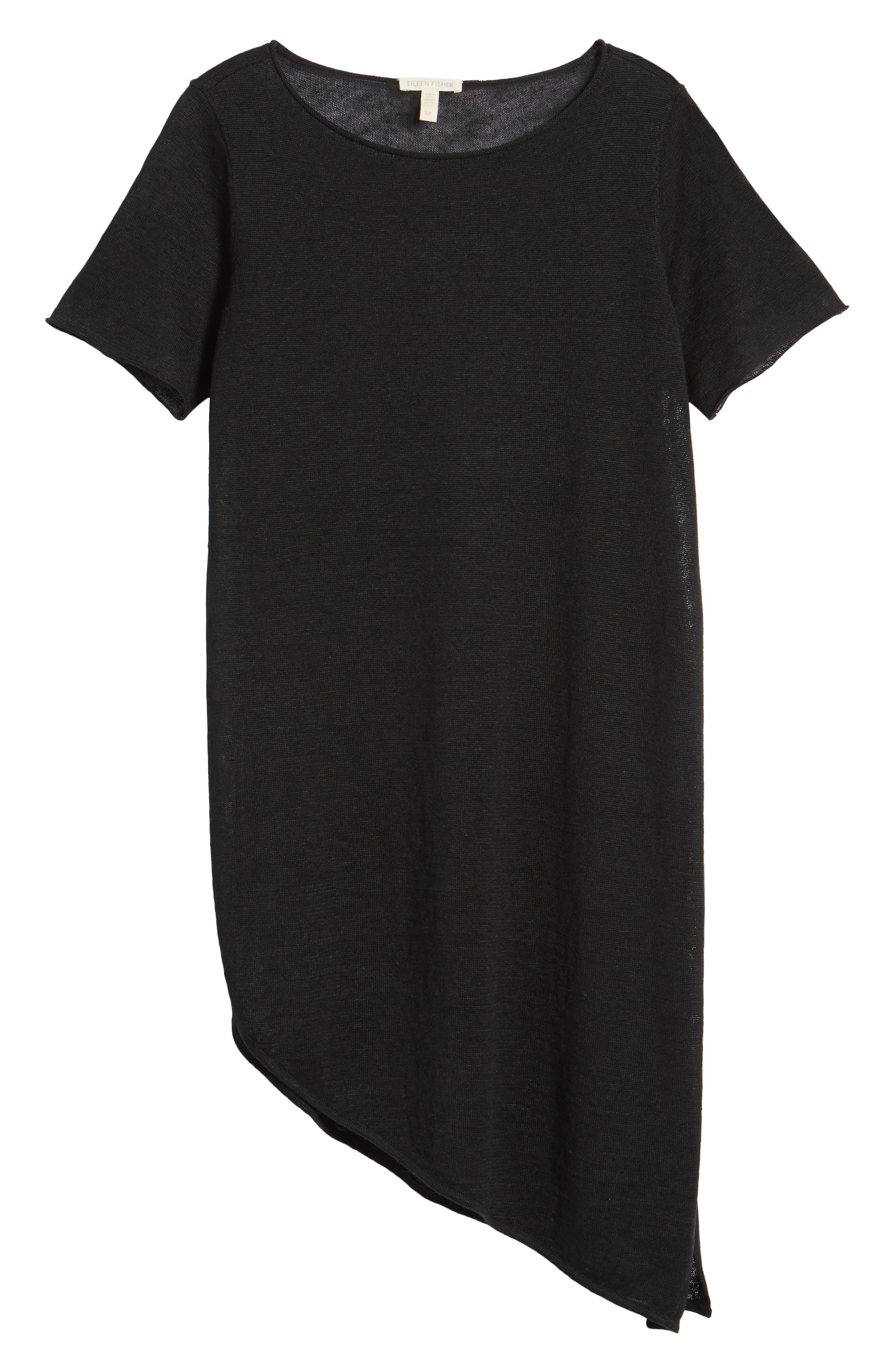 Asymmetrical Organic Linen Tunic,                             Alternate thumbnail 7, color,                             001