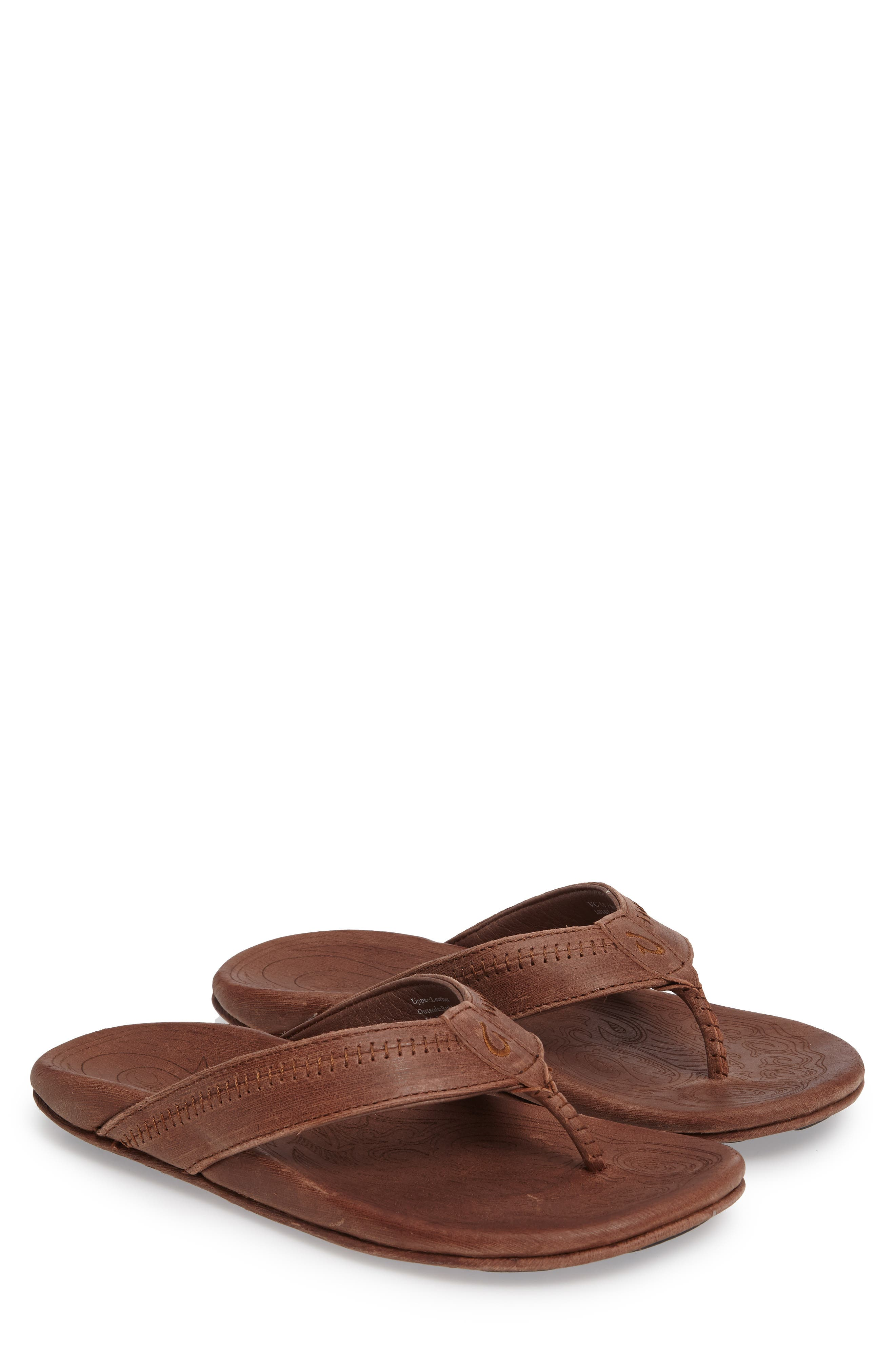 'Hiapo' Flip Flop,                         Main,                         color, TOFFEE/ TOFFEE LEATHER