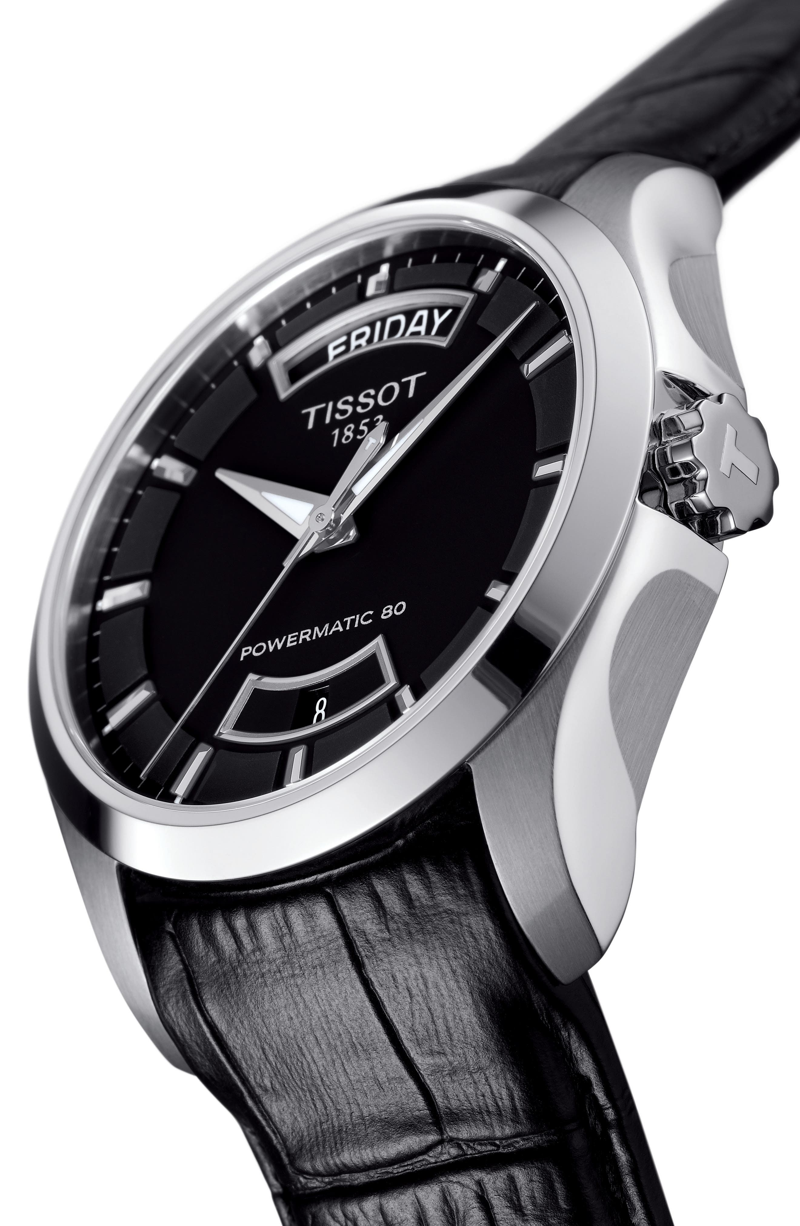 Couturier Automatic Leather Strap Watch, 39mm,                             Alternate thumbnail 4, color,                             BLACK/ SILVER