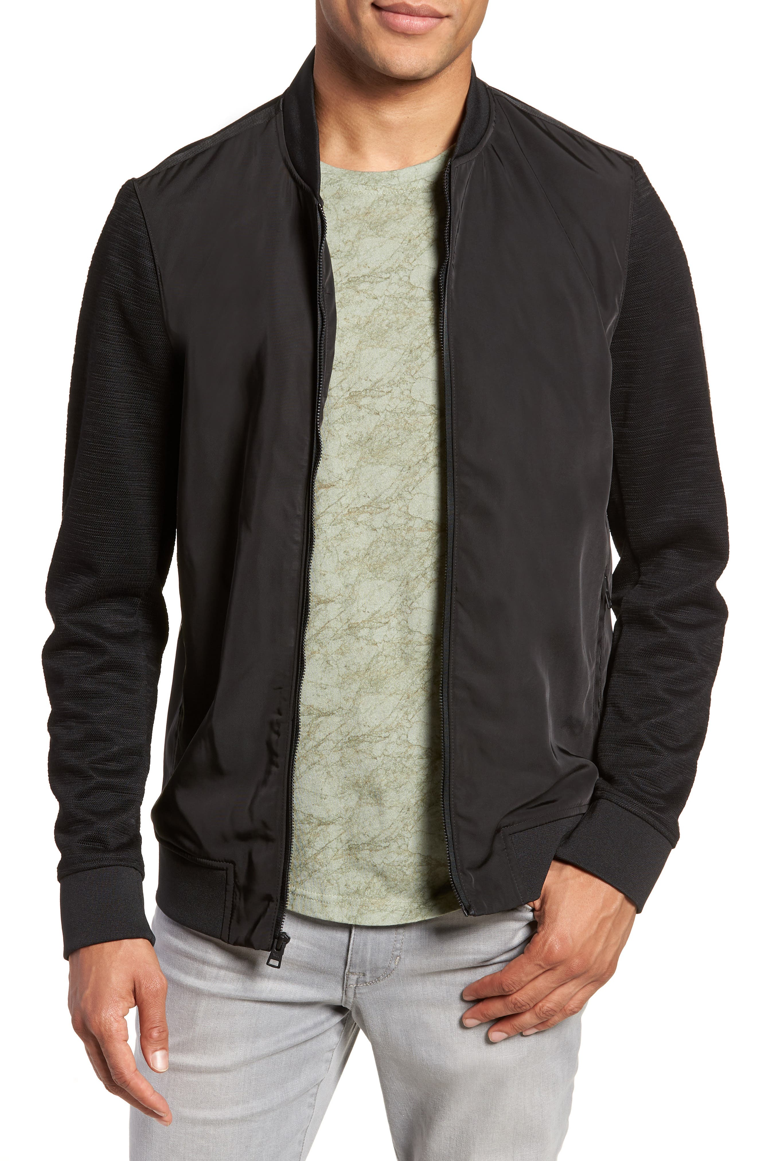 Gesso Slim Fit Bomber Jacket,                             Main thumbnail 1, color,                             001