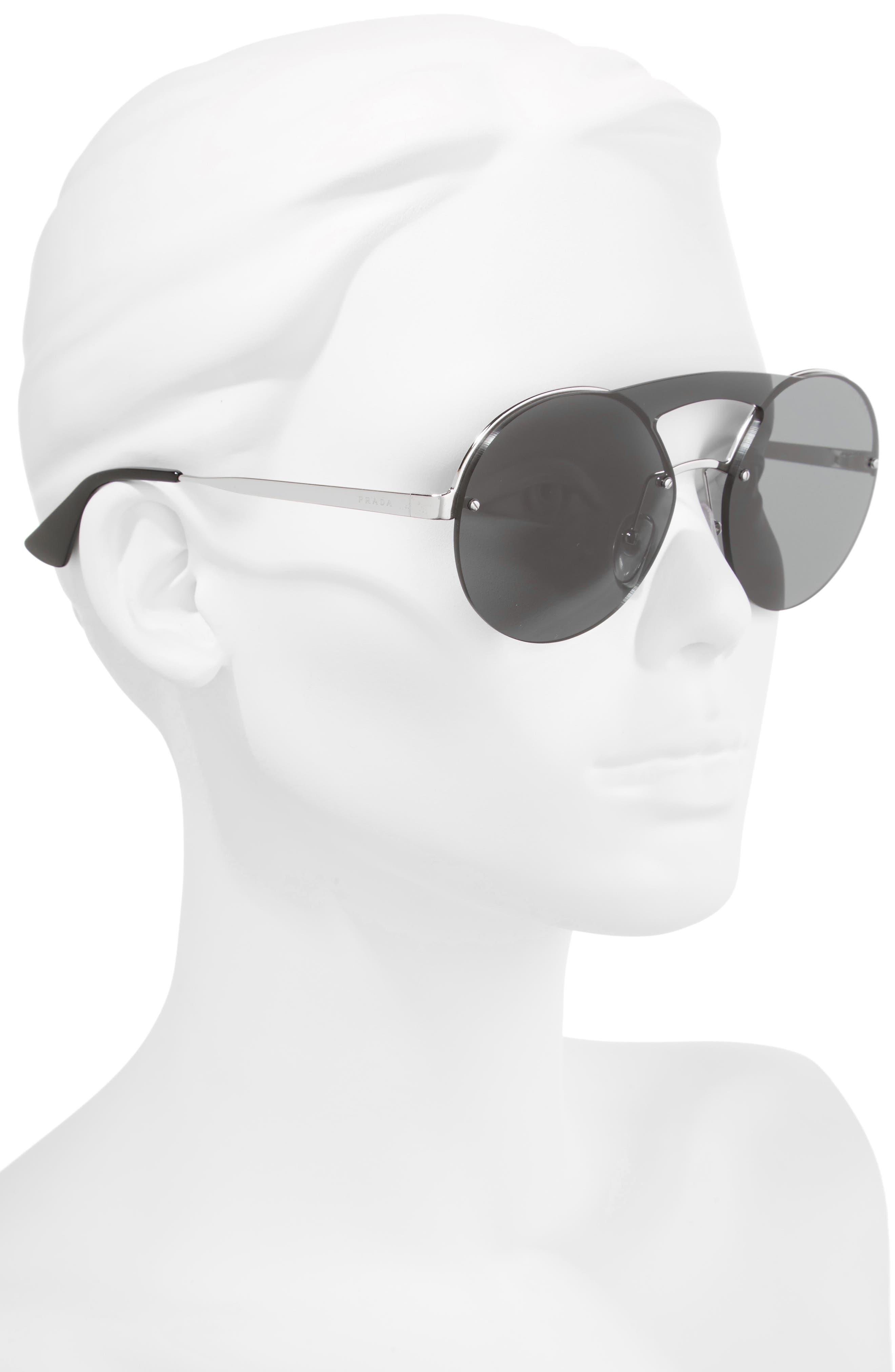 60mm Round Rimless Sunglasses,                             Alternate thumbnail 2, color,                             020