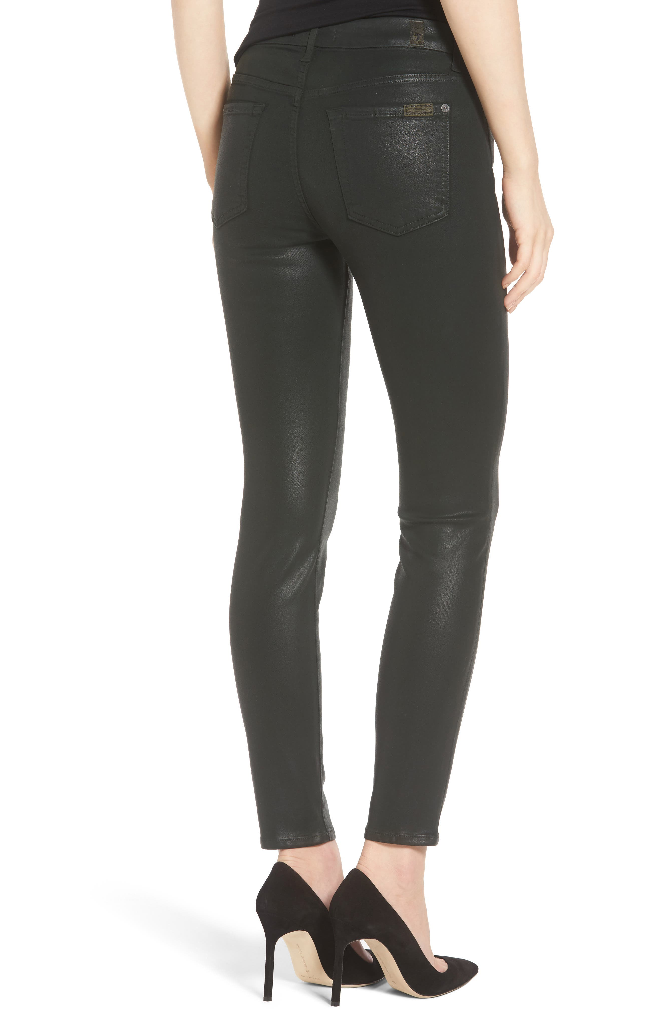 Coated Ankle Skinny Jeans,                             Alternate thumbnail 8, color,