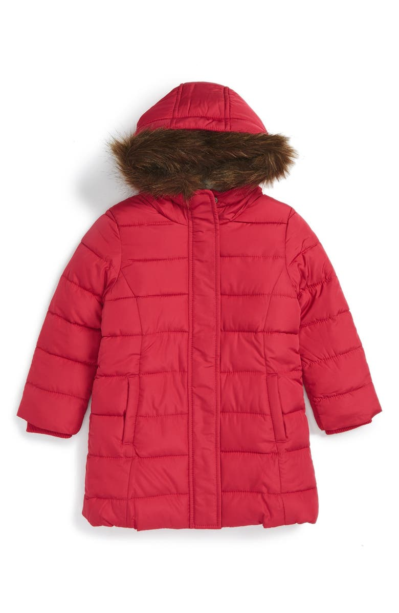 8a6658a9988b Mini Boden Quilted Jacket with Faux Fur Trim (Toddler Girls