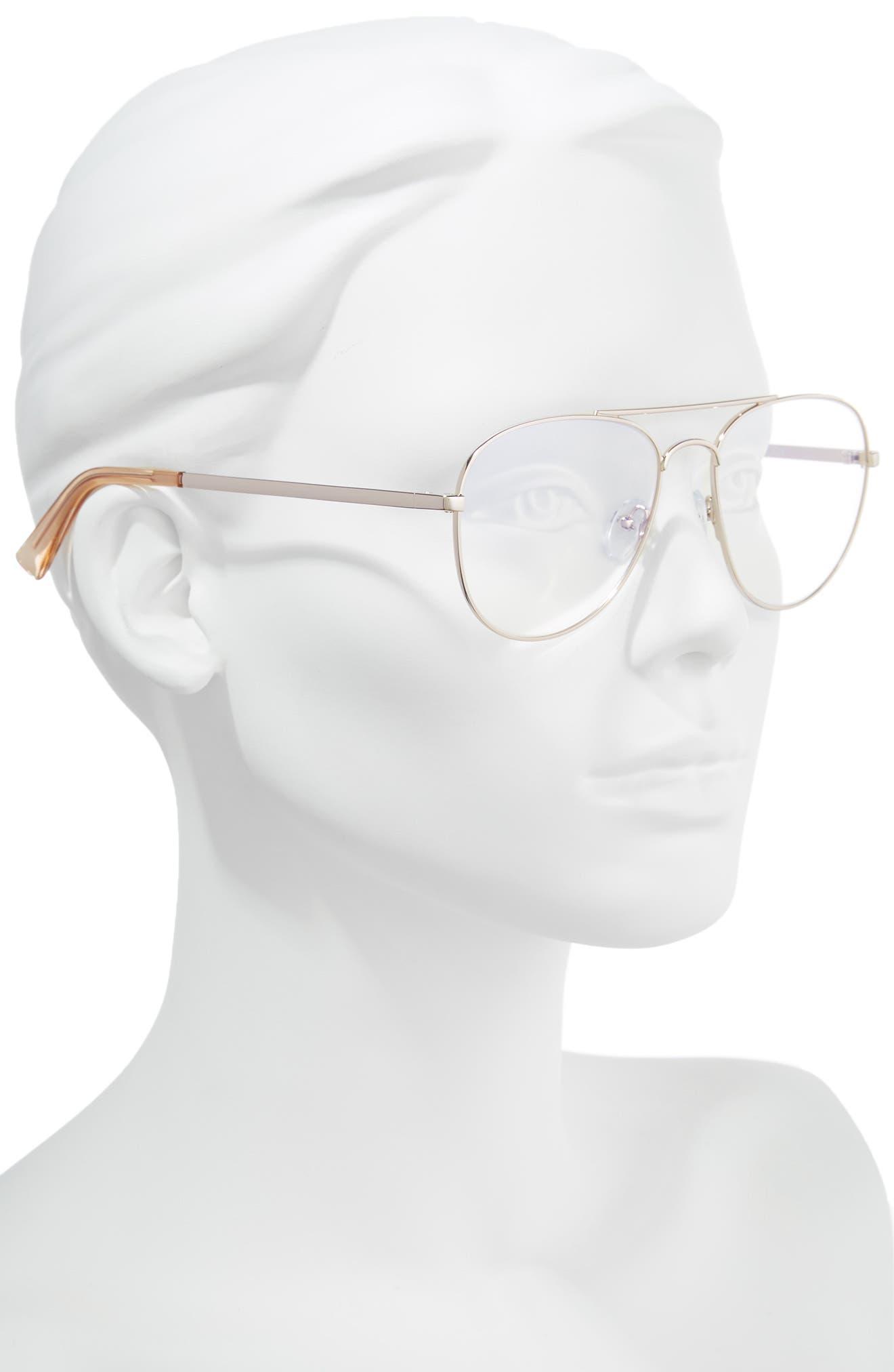 Hard Crimes 55mm Aviator Reading Glasses,                             Alternate thumbnail 2, color,                             ROSE GOLD
