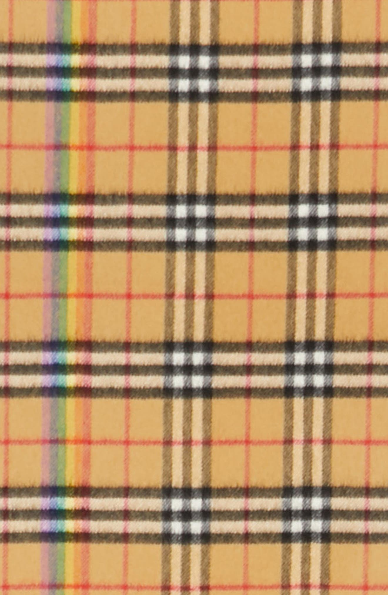 BURBERRY,                             Rainbow Stripe Vintage Check Cashmere Scarf,                             Alternate thumbnail 4, color,                             ANTIQUE YELLOW/ RAINBOW