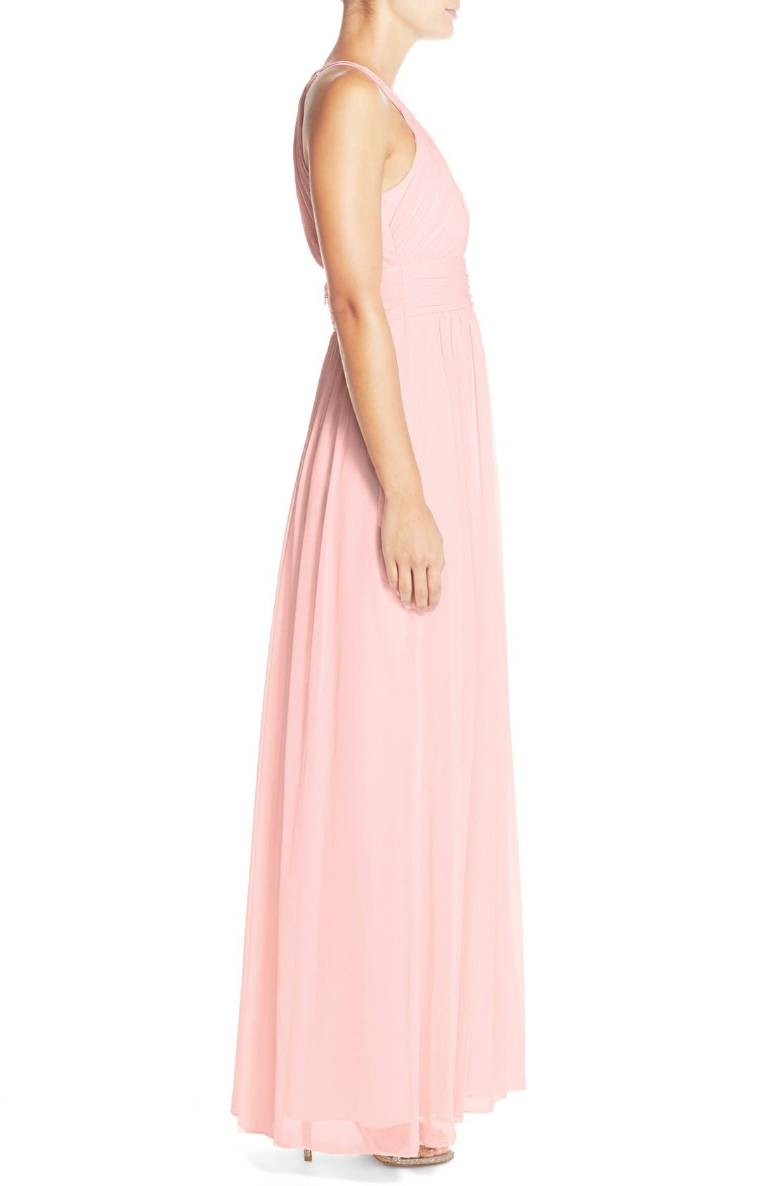 Dessy Collection Ruched Chiffon Open Back Halter Gown,                             Alternate thumbnail 4, color,                             686