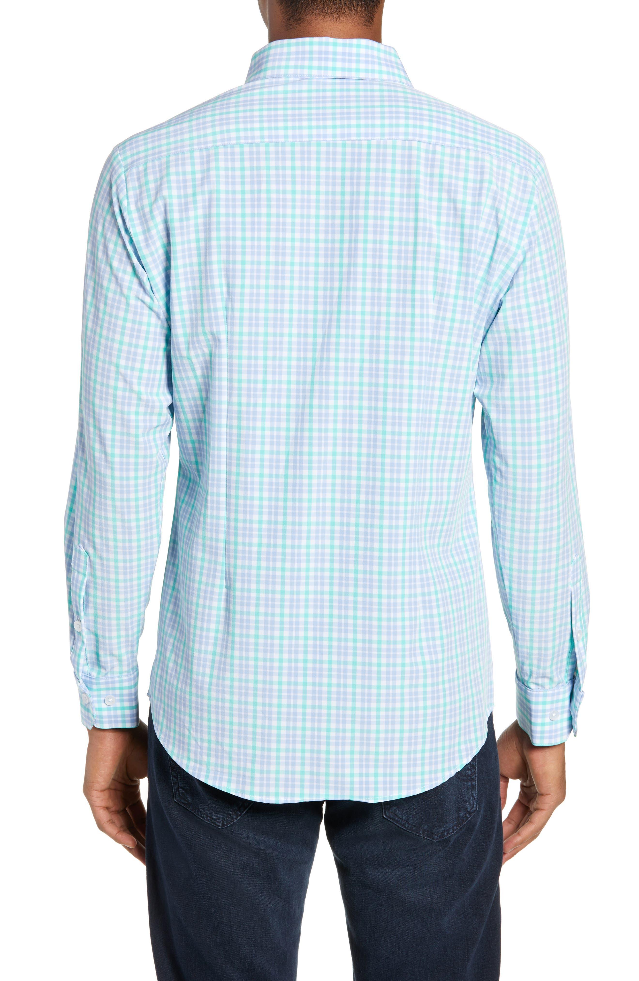 Knoll Regular Fit Plaid Performance Sport Shirt,                             Alternate thumbnail 3, color,                             GREEN