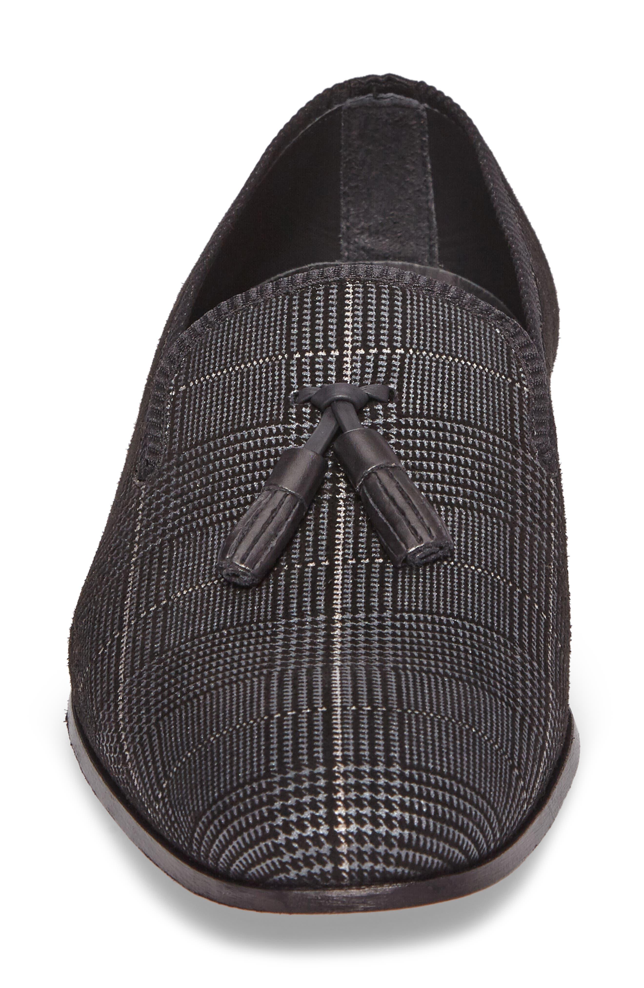 Motril Tassel Loafer,                             Alternate thumbnail 4, color,                             BLACK SUEDE