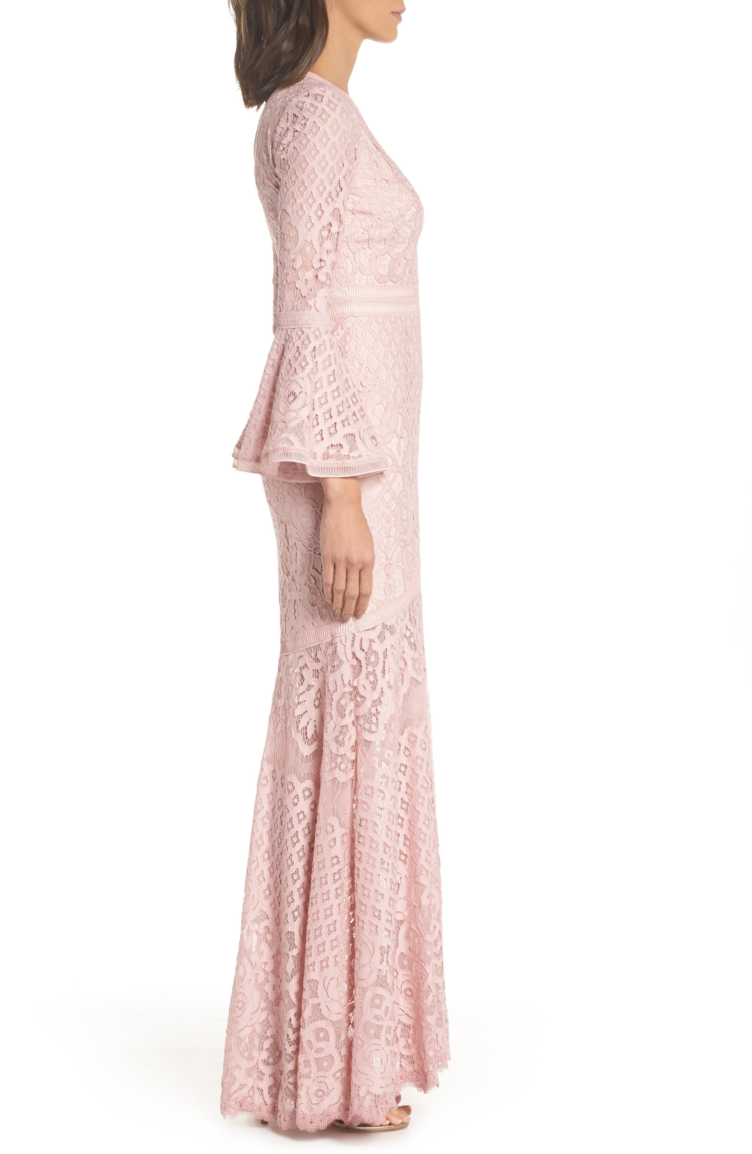 Bell Sleeve Lace Gown,                             Alternate thumbnail 3, color,