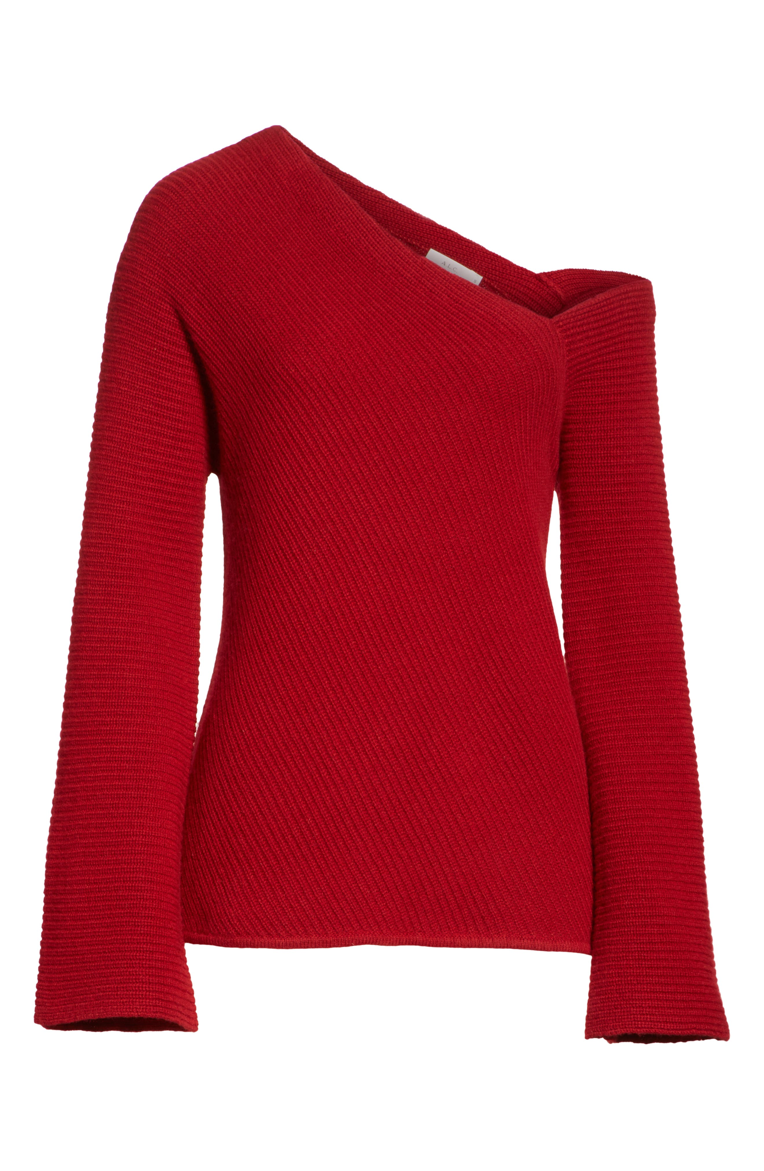 Charly Wool & Cashmere One-Shoulder Sweater,                             Alternate thumbnail 6, color,                             RED
