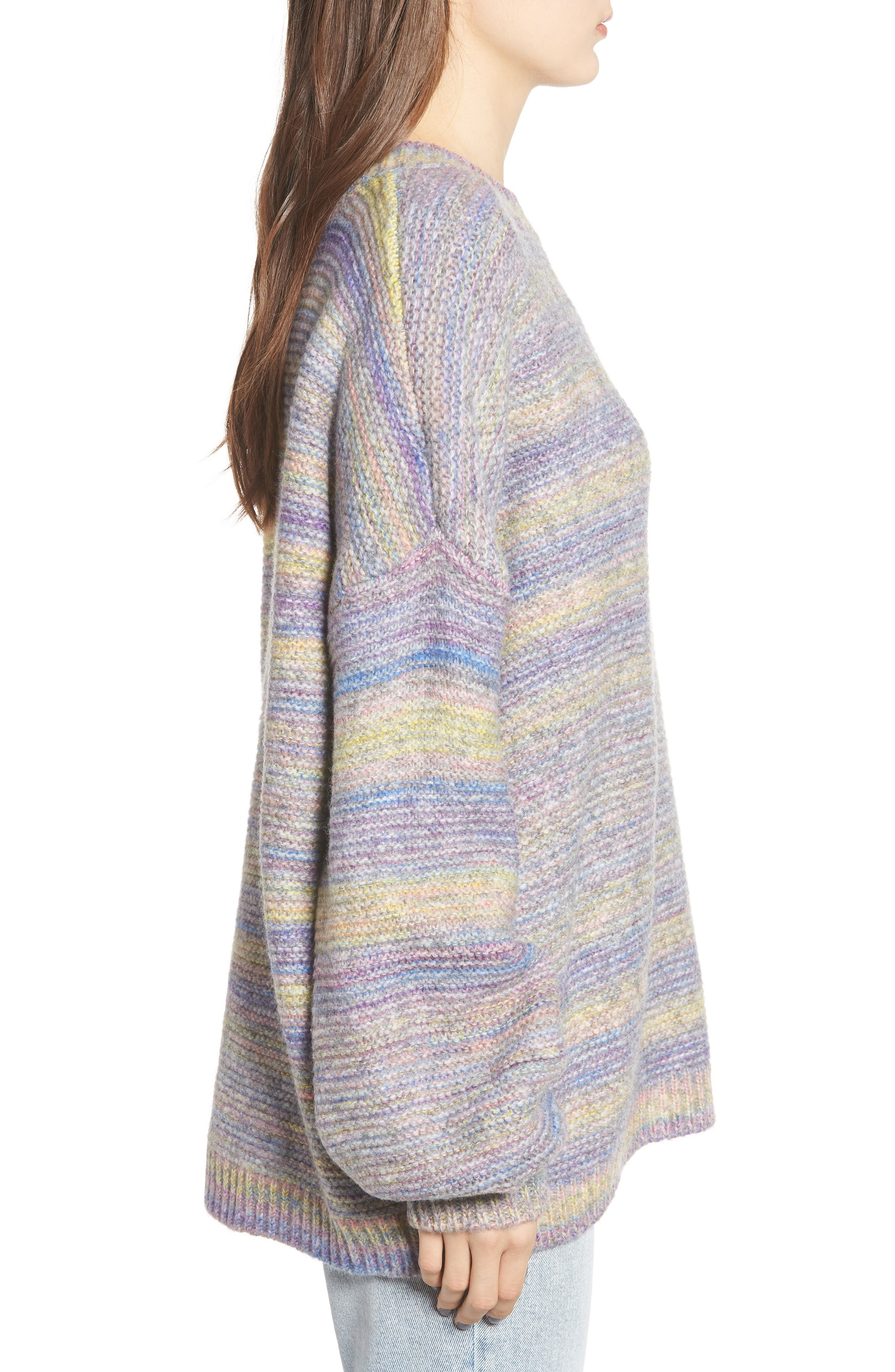 Rainbow Marl Sweater,                             Alternate thumbnail 3, color,                             YELLOW
