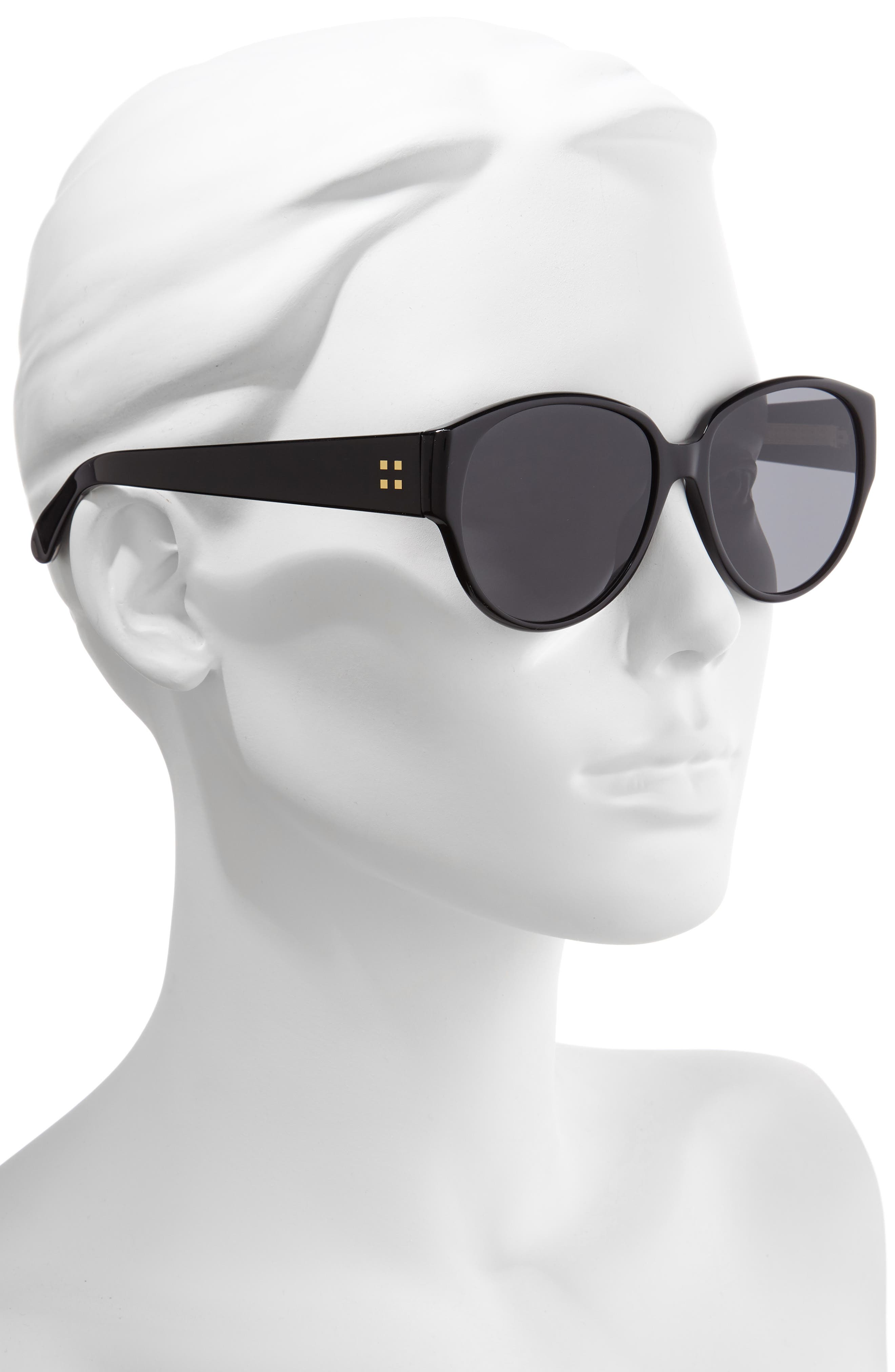 57mm Round Sunglasses,                             Alternate thumbnail 2, color,                             001