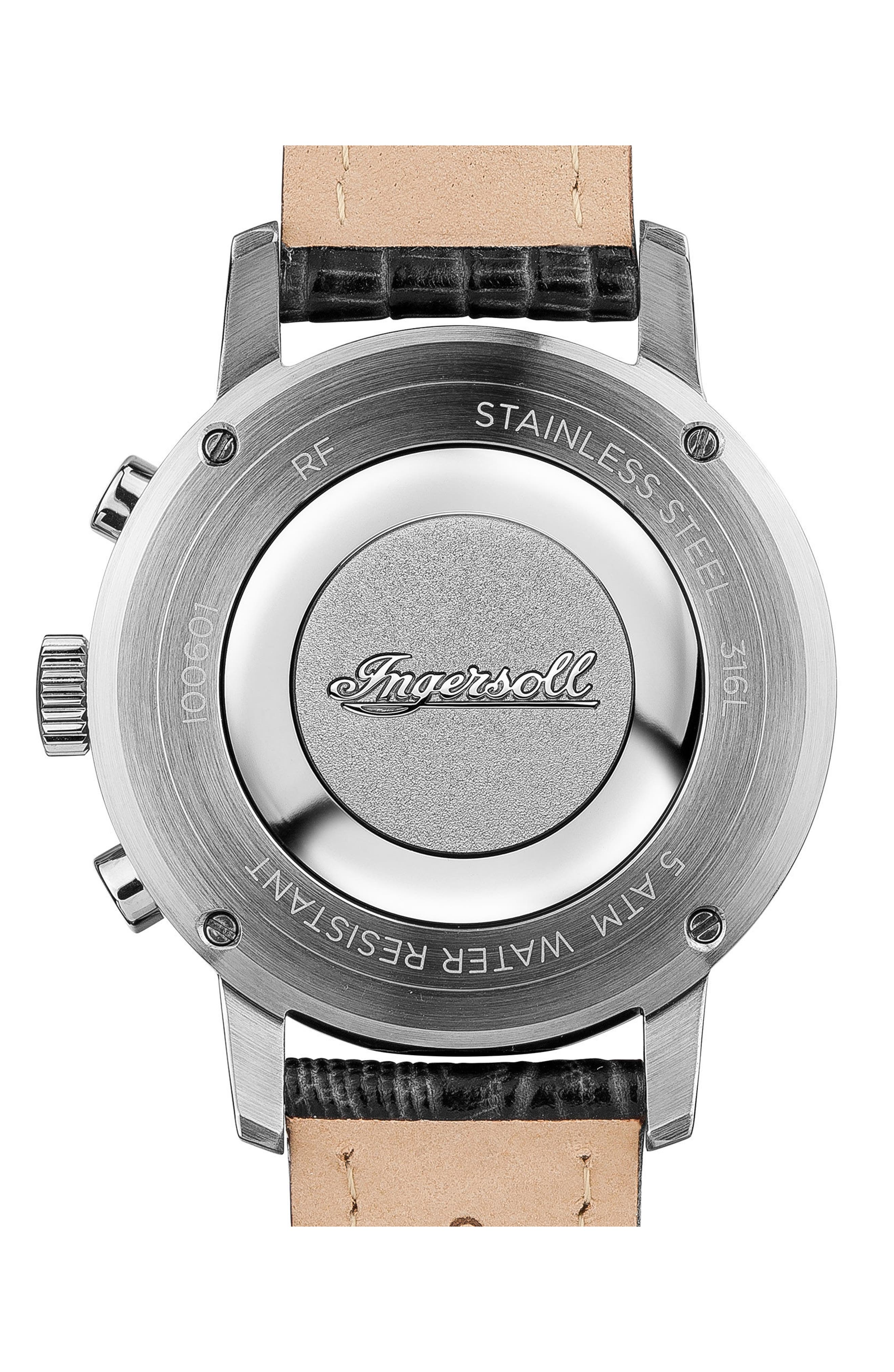INGERSOLL WATCHES,                             Ingersoll Grafton Chronograph Leather Strap Watch, 42mm,                             Alternate thumbnail 2, color,                             001