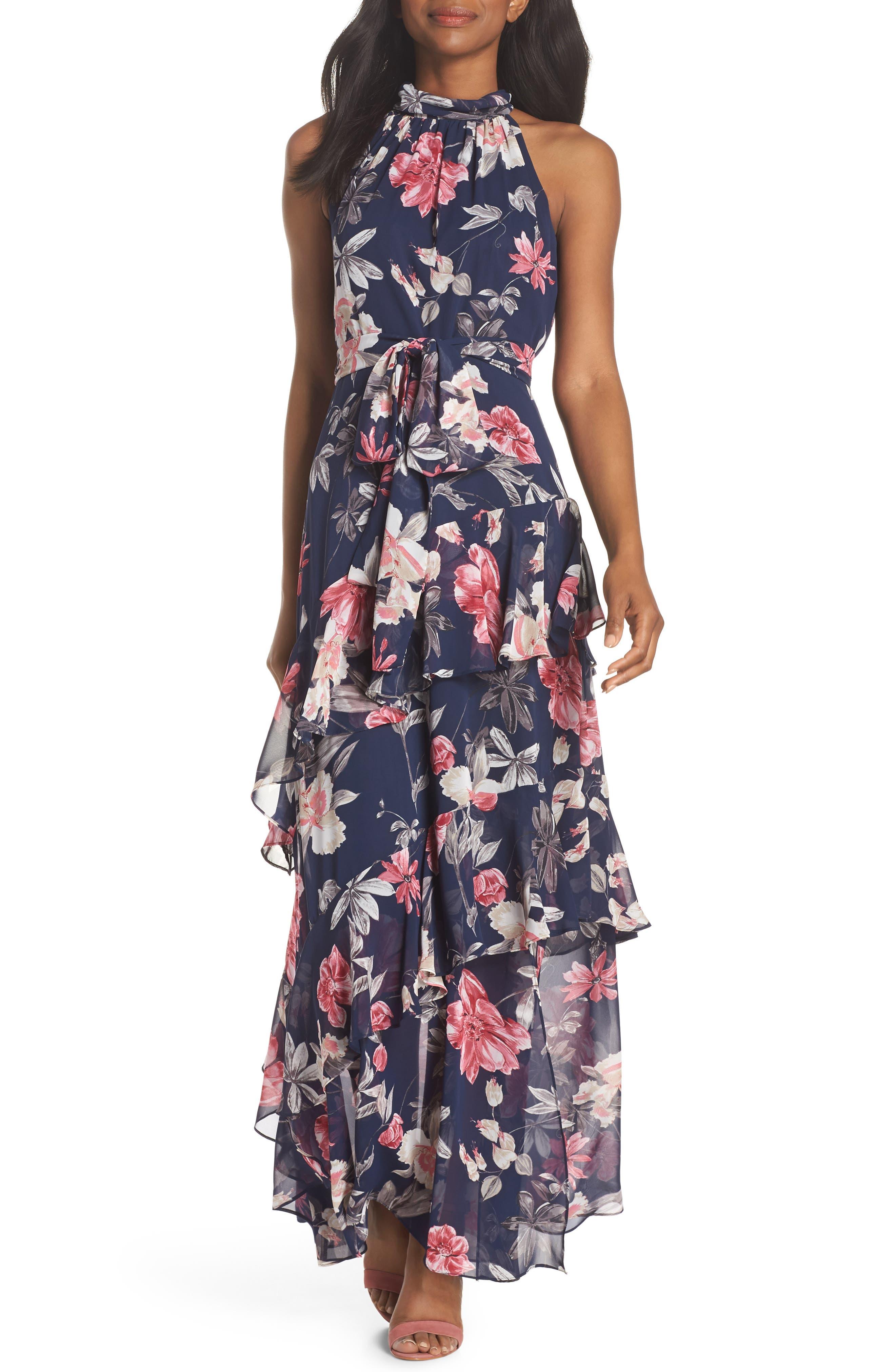 Halter Neck Ruffle Chiffon Maxi Dress,                         Main,                         color, 410