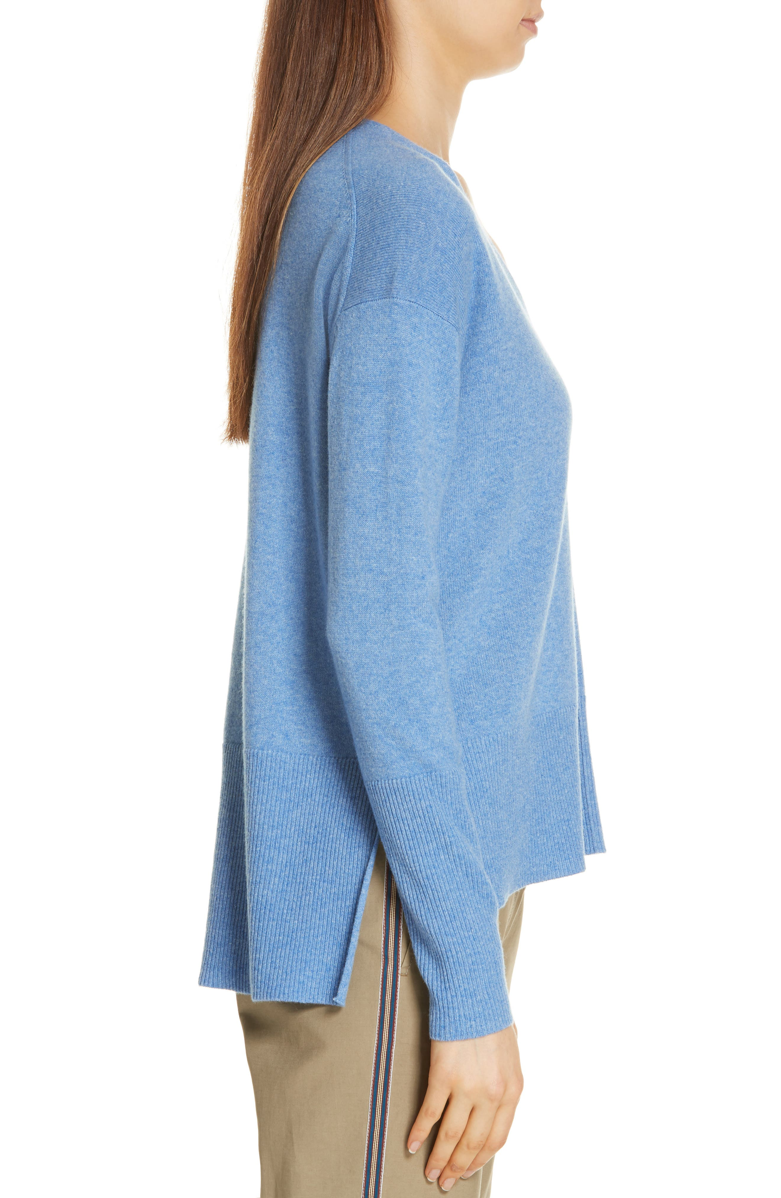 V-Neck High/Low Cashmere Sweater,                             Alternate thumbnail 3, color,                             BLUE PROVENCE HEATHER