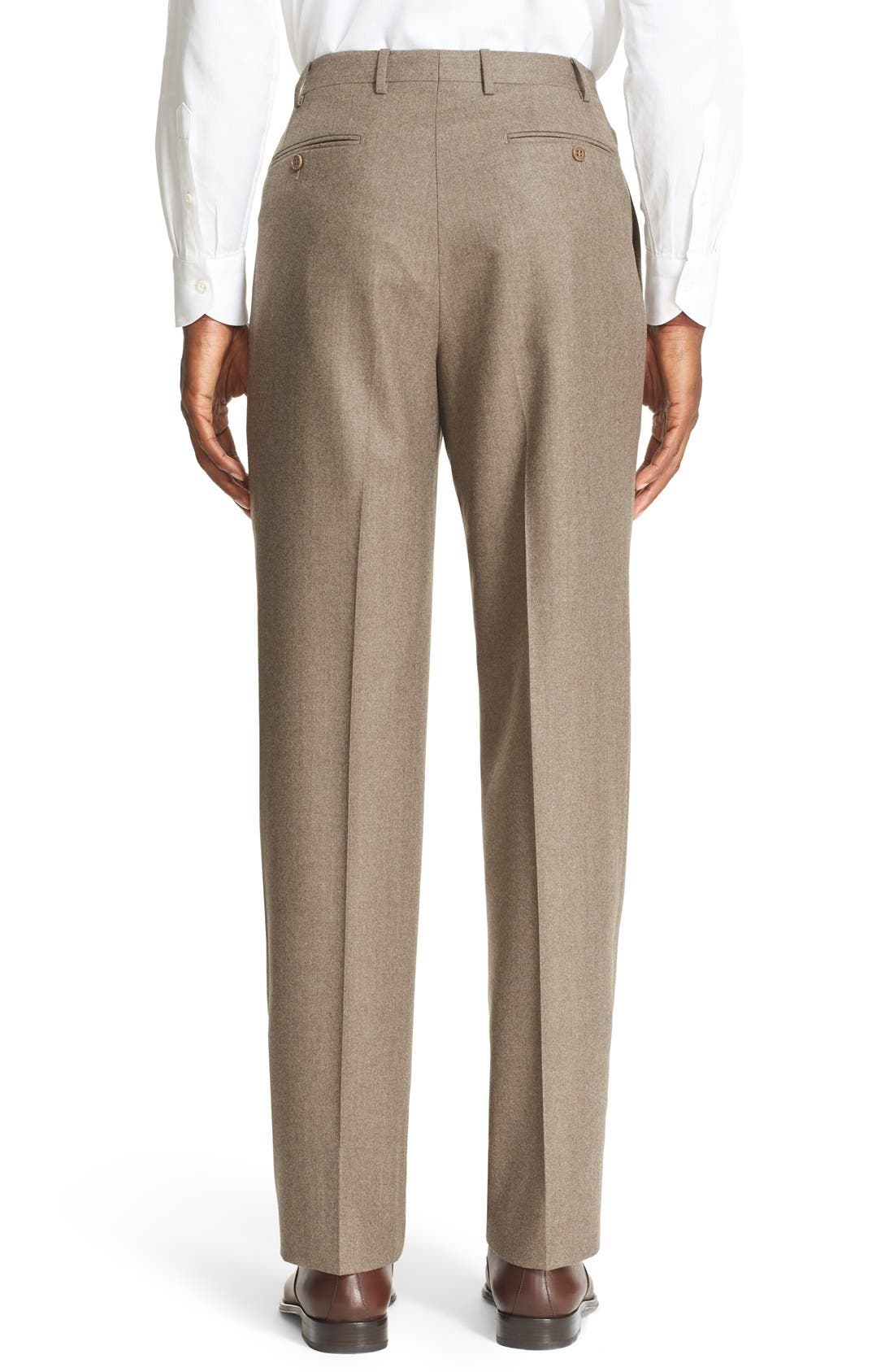 Flat Front Solid Wool Trousers,                             Alternate thumbnail 3, color,                             TAN