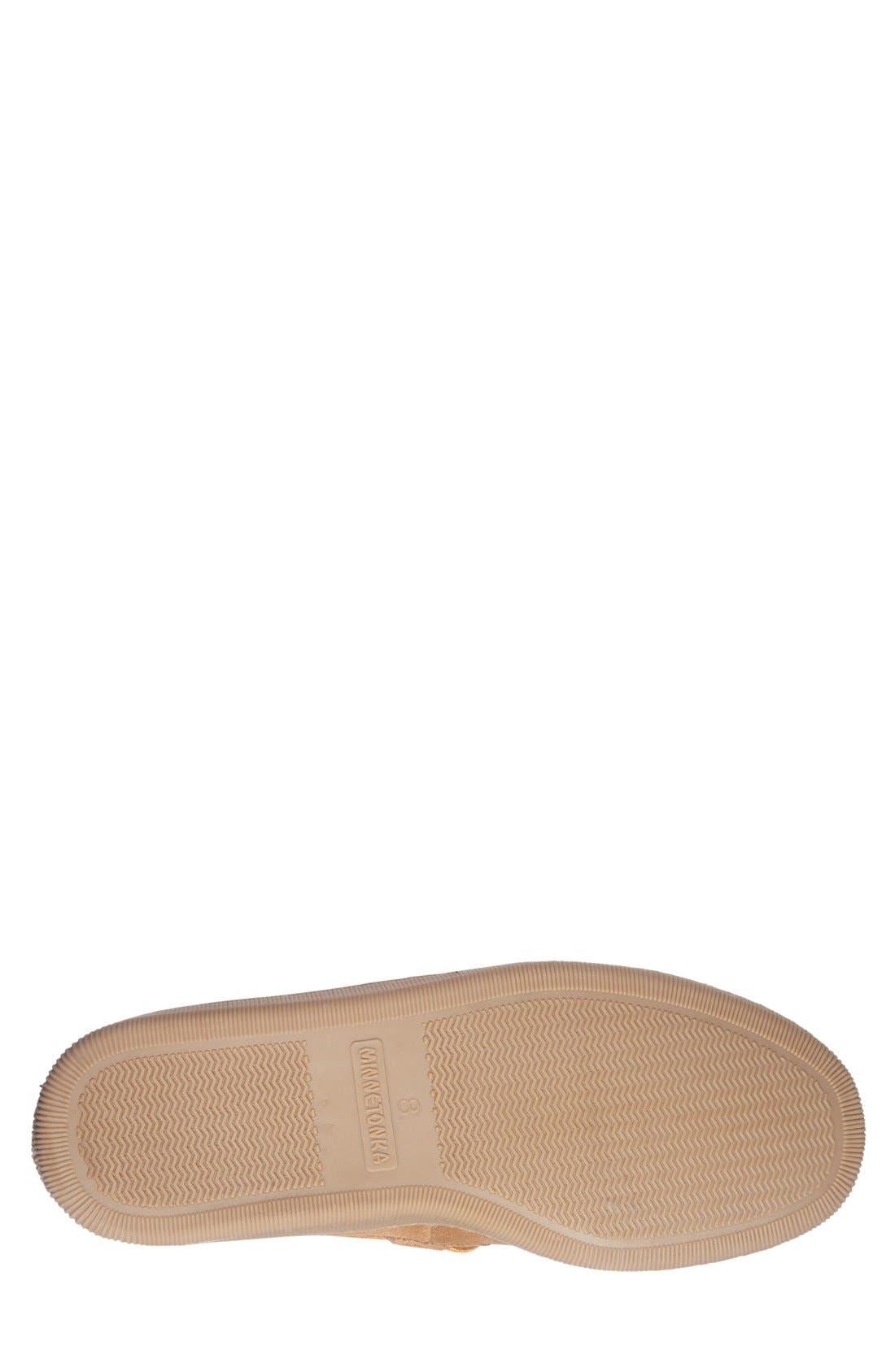 Genuine Shearling Moccasin Slipper,                             Alternate thumbnail 4, color,                             TAN