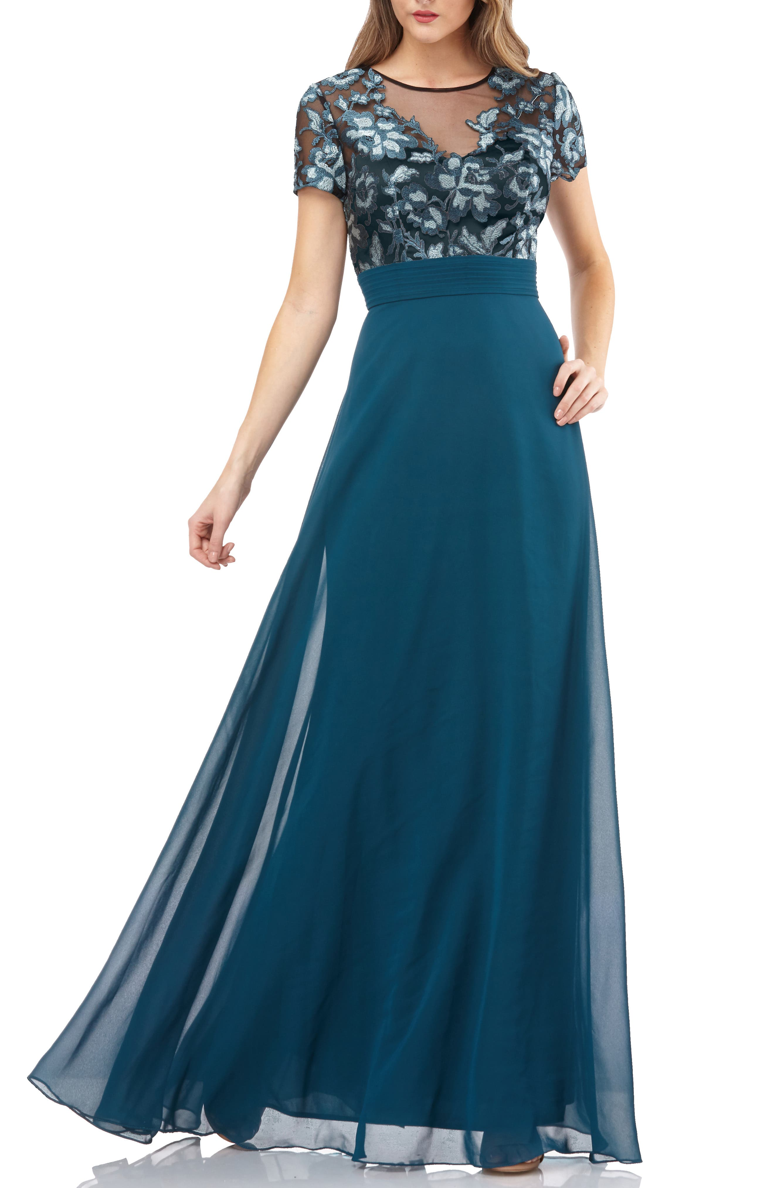 Js Collections Short Sleeve Embroidered Bodice Evening Dress, Green
