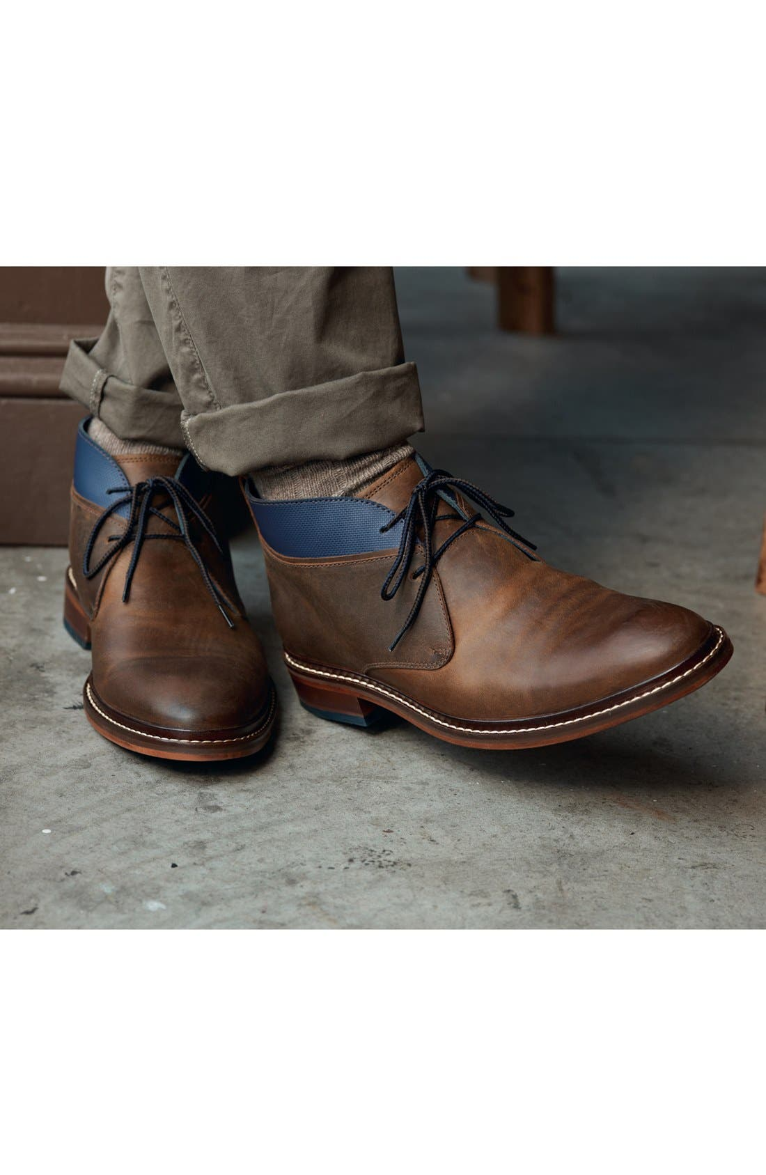 'Colton' Chukka Boot,                             Alternate thumbnail 7, color,                             COPPER/ PEACOAT LEATHER