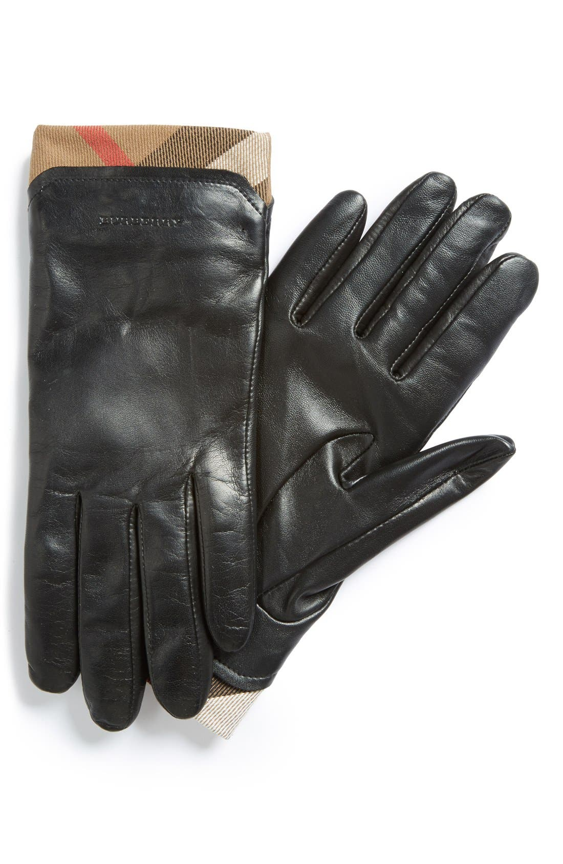 BURBERRY 'Jenny - House Check' Touch Tech Leather Gloves, Main, color, 001