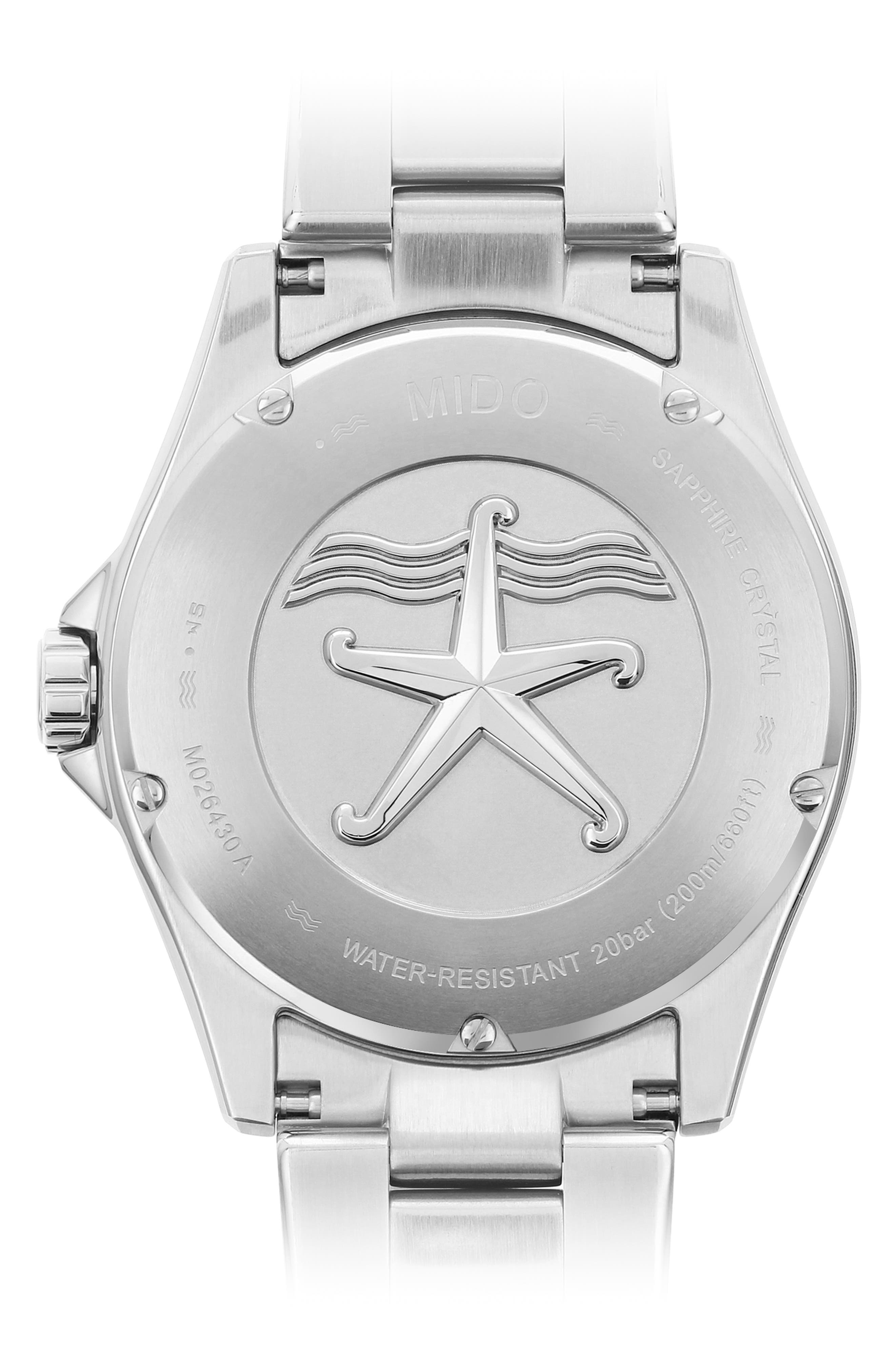 Ocean Star Automatic Bracelet Watch, 42.5mm,                             Alternate thumbnail 2, color,                             SILVER/ BLACK/ SILVER