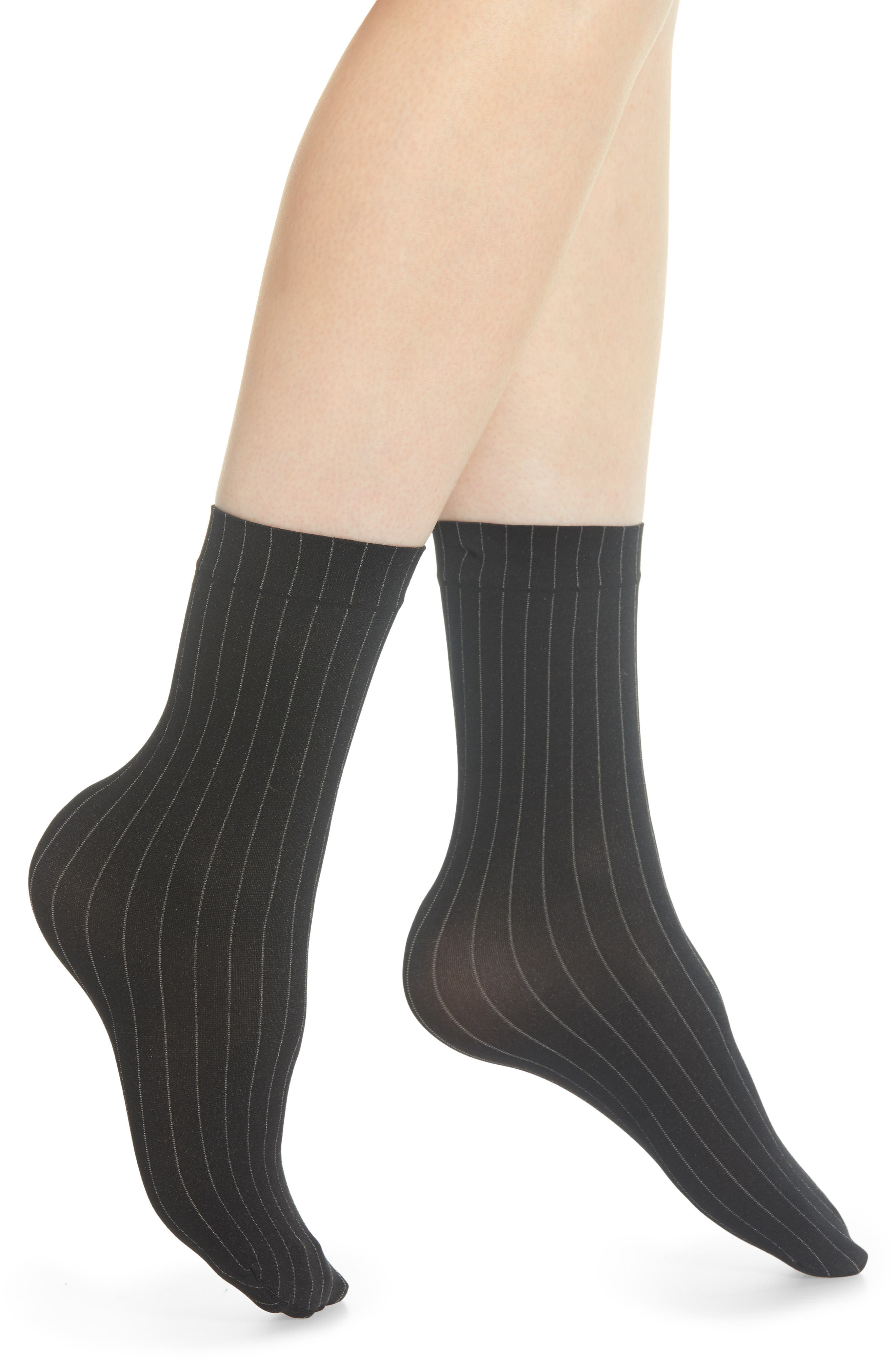 WOLFORD Muriel Pinstripe Crew Socks, Main, color, 001
