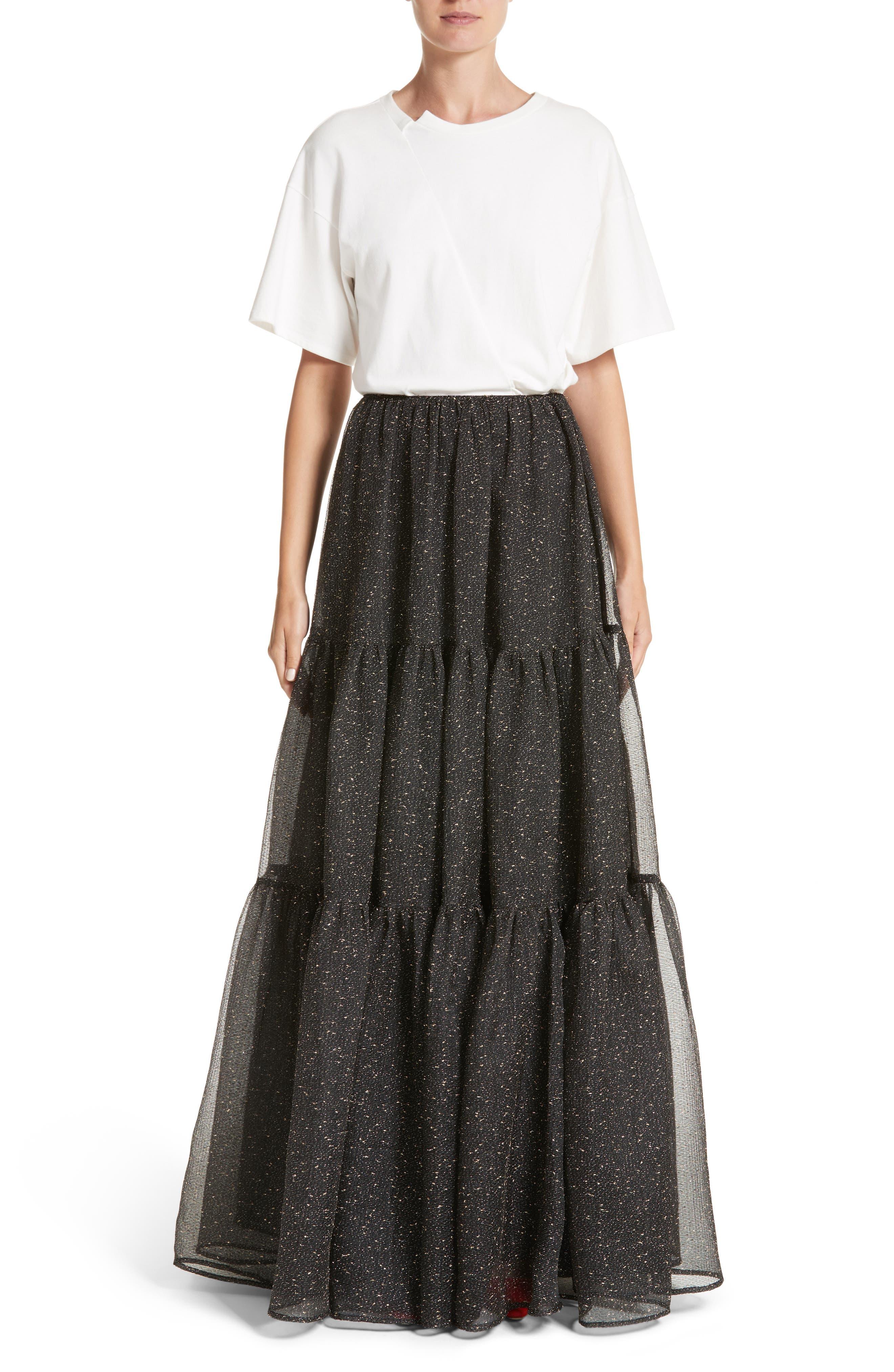 Tiered Organza Maxi Skirt,                             Alternate thumbnail 7, color,                             015