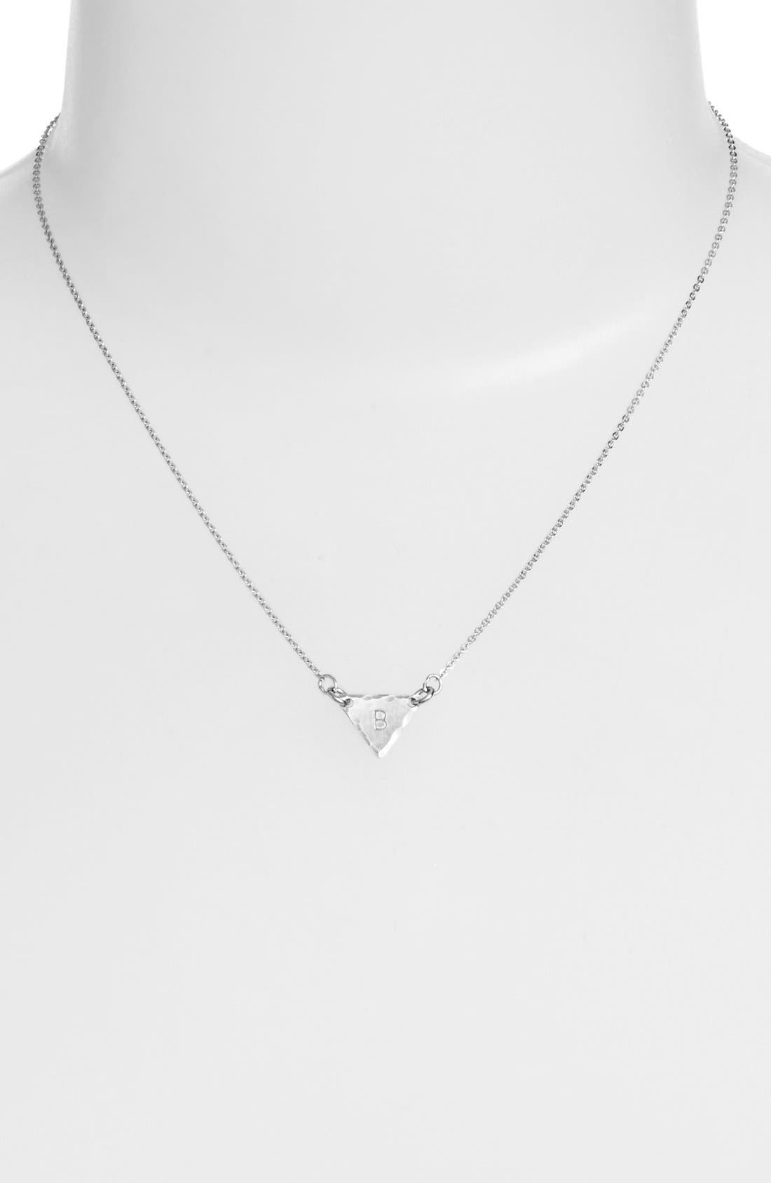 Sterling Silver Initial Mini Triangle Necklace,                             Alternate thumbnail 28, color,