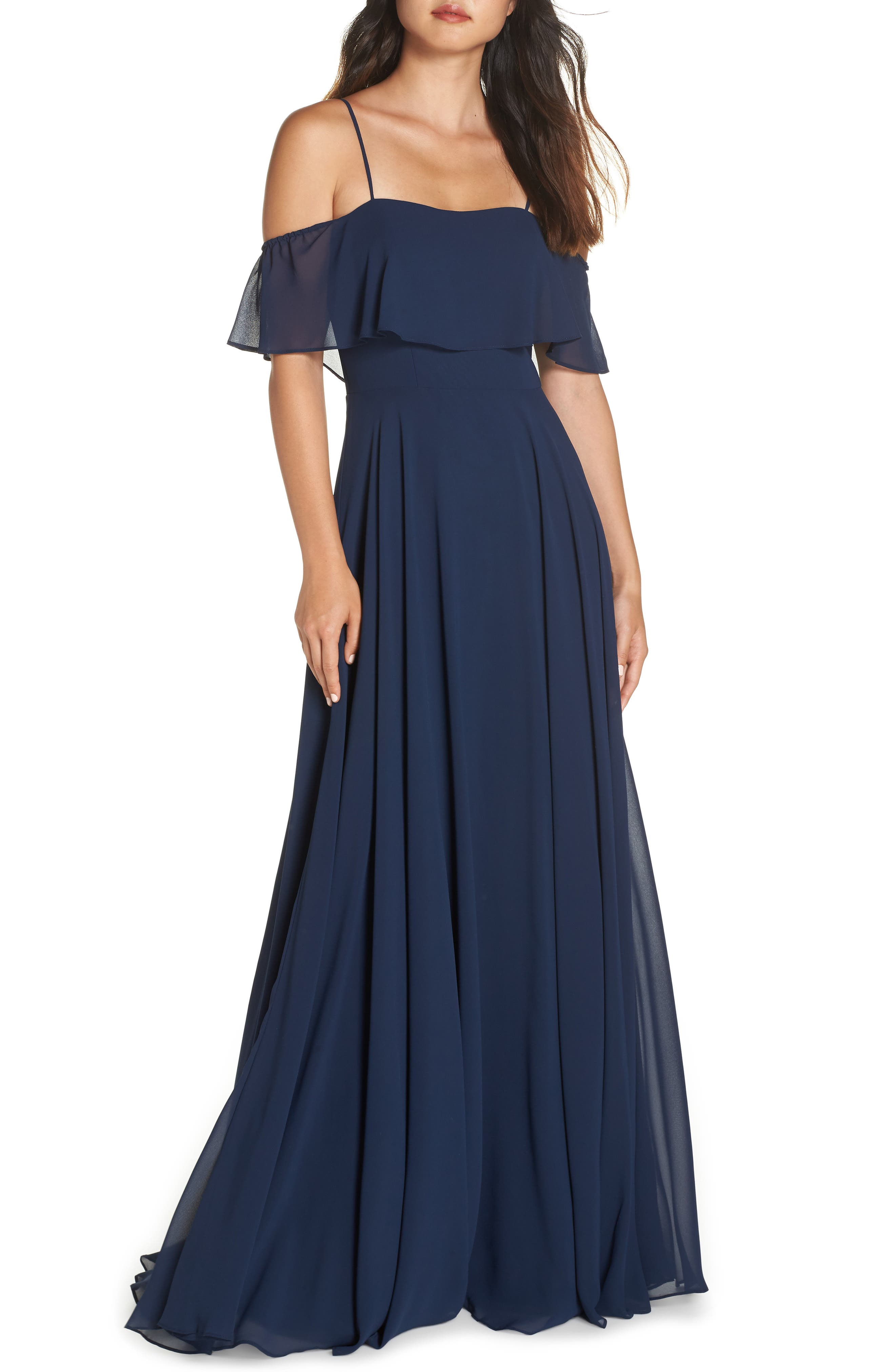Hayley Paige Occasions Chiffon Cold Shoulder Gown, Blue