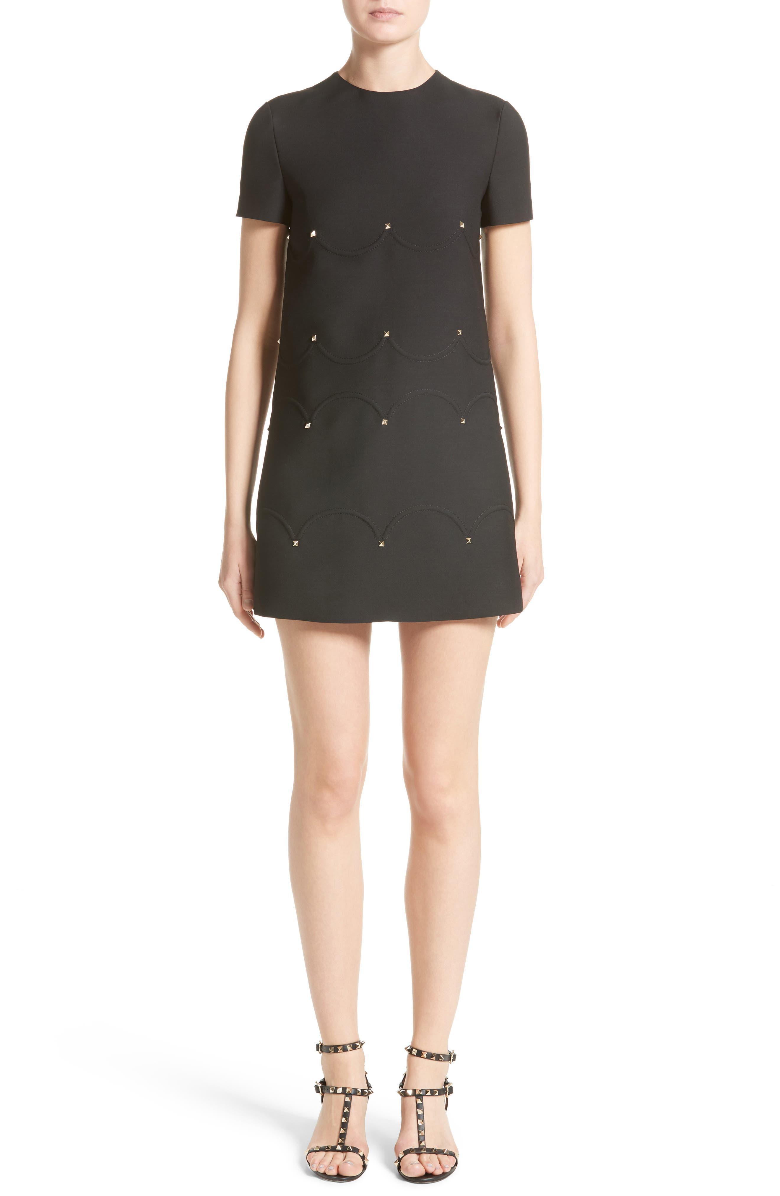 Studded Scallop Dress,                             Main thumbnail 1, color,                             BLACK