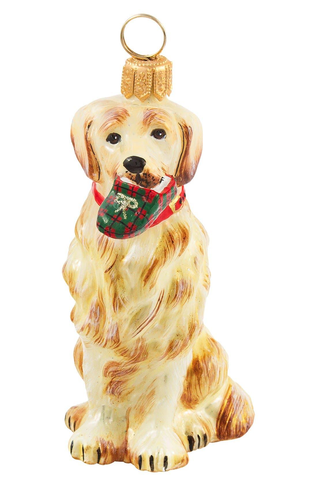 'Dog with Tartan Plaid Slipper' Ornament,                             Main thumbnail 1, color,                             BLACK LAB