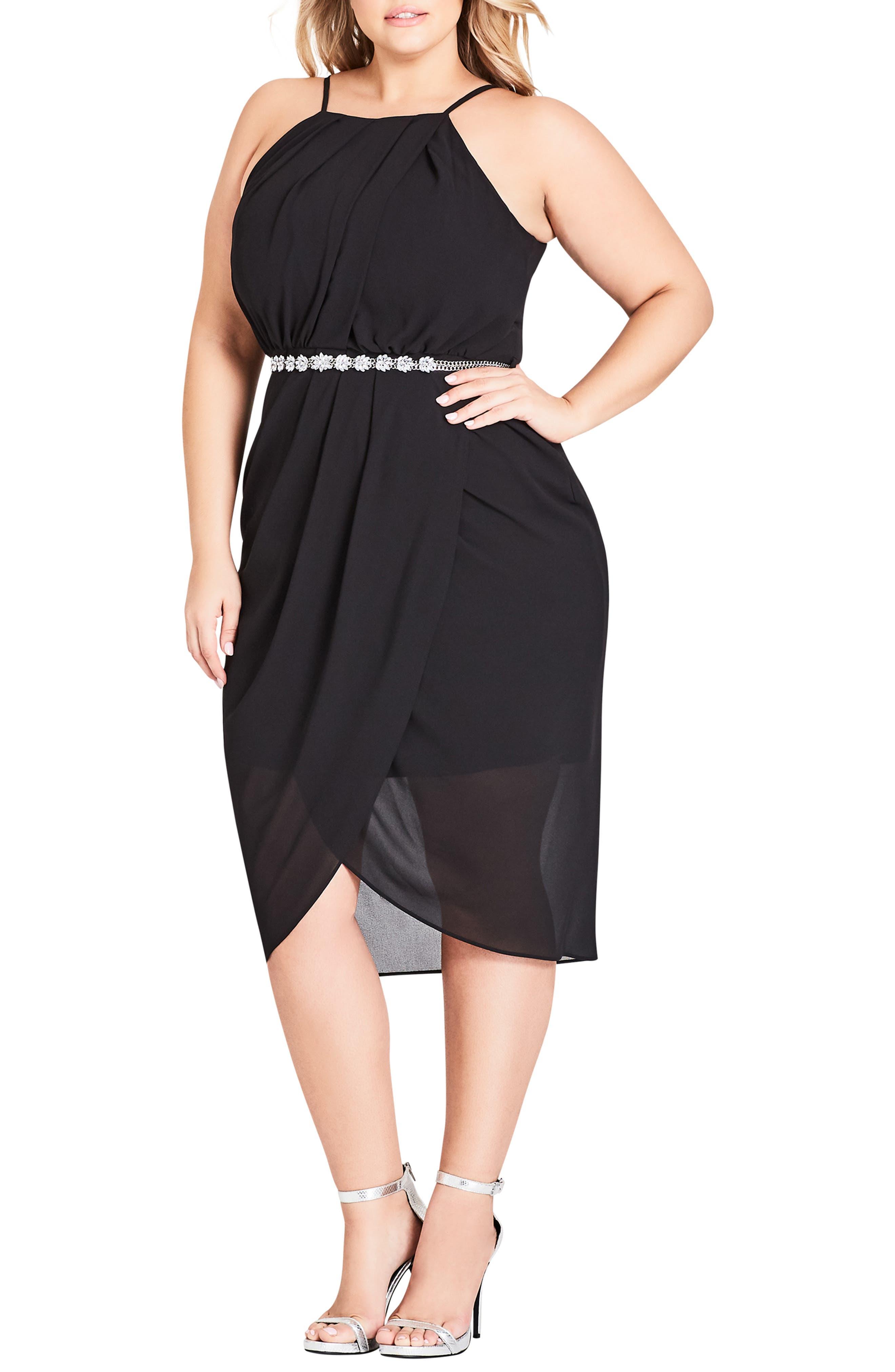 Wrap Love Belted Dress,                         Main,                         color, BLACK
