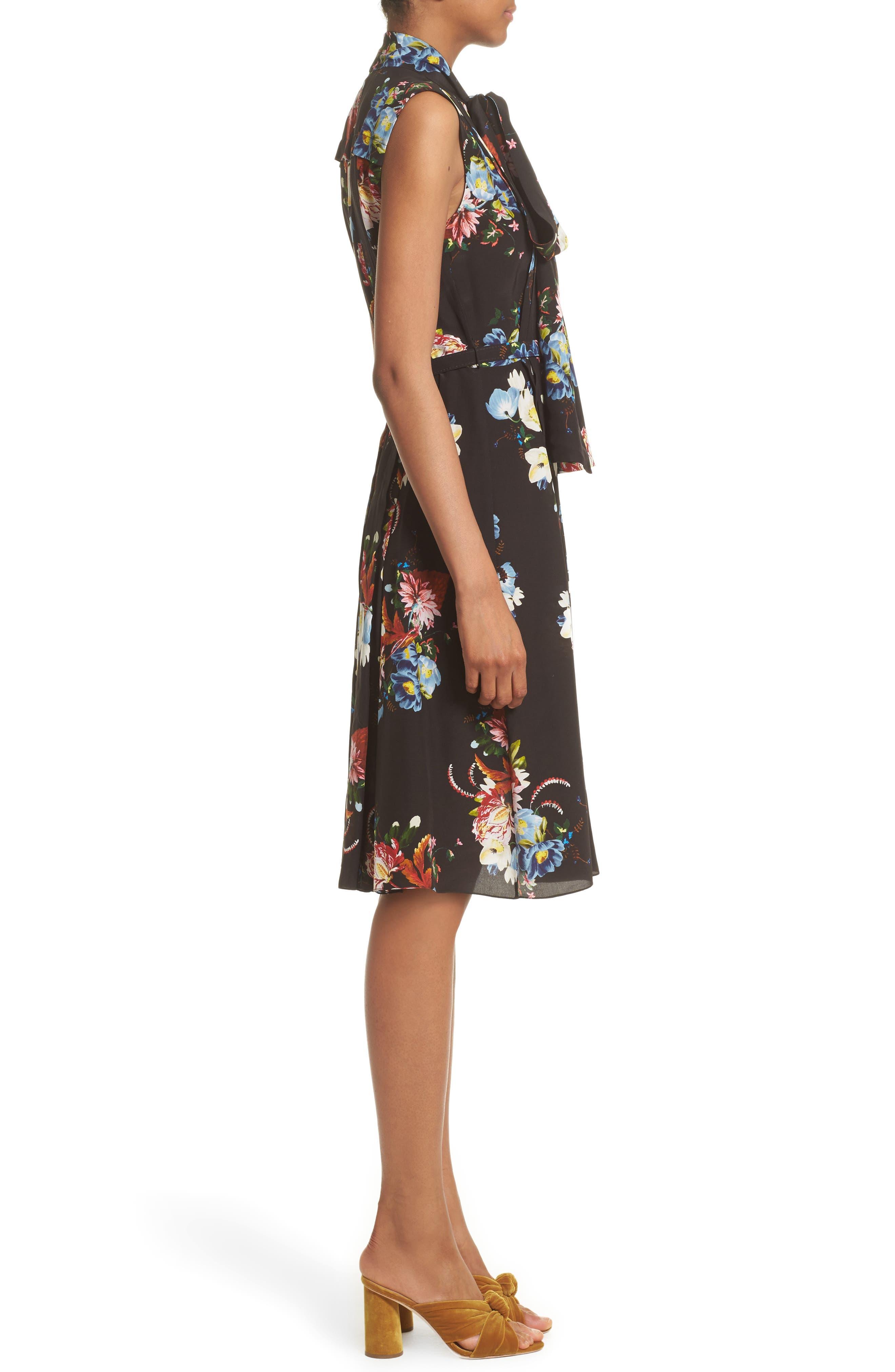 Richelle Tie Neck Floral Print Silk Crêpe de Chine Dress,                             Alternate thumbnail 3, color,                             001